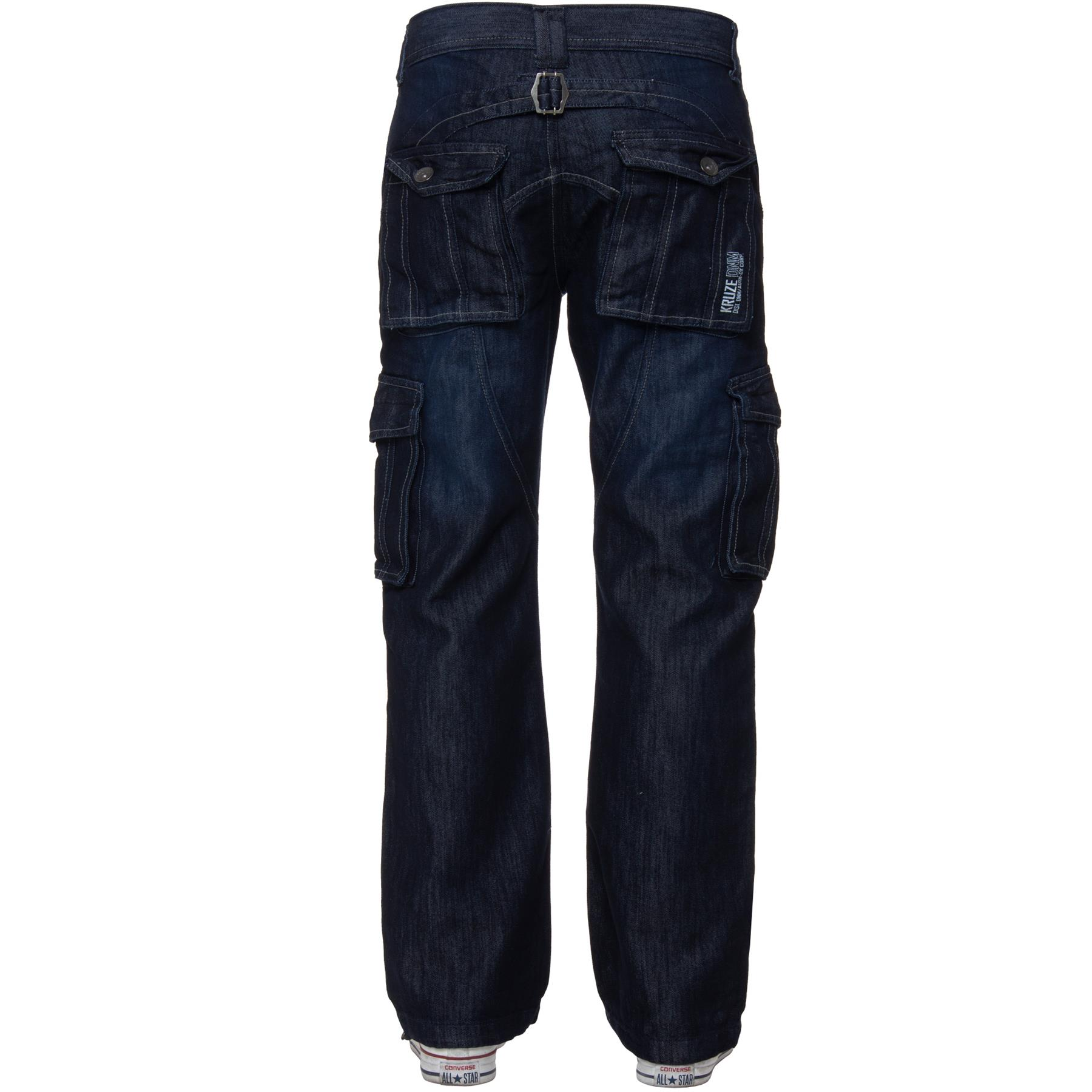 Kruze-Mens-Combat-Jeans-Casual-Cargo-Work-Denim-Trousers-Big-Tall-All-Waists thumbnail 11