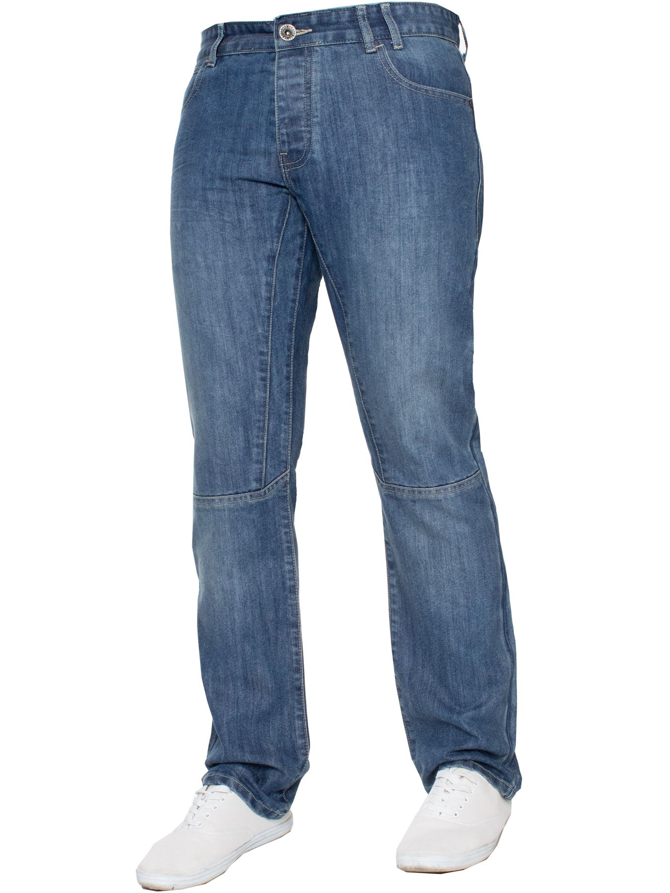 Enzo-Mens-Straight-Jeans-Regular-Leg-Designer-Work-Denim-Pants-All-Waists-Sizes thumbnail 23