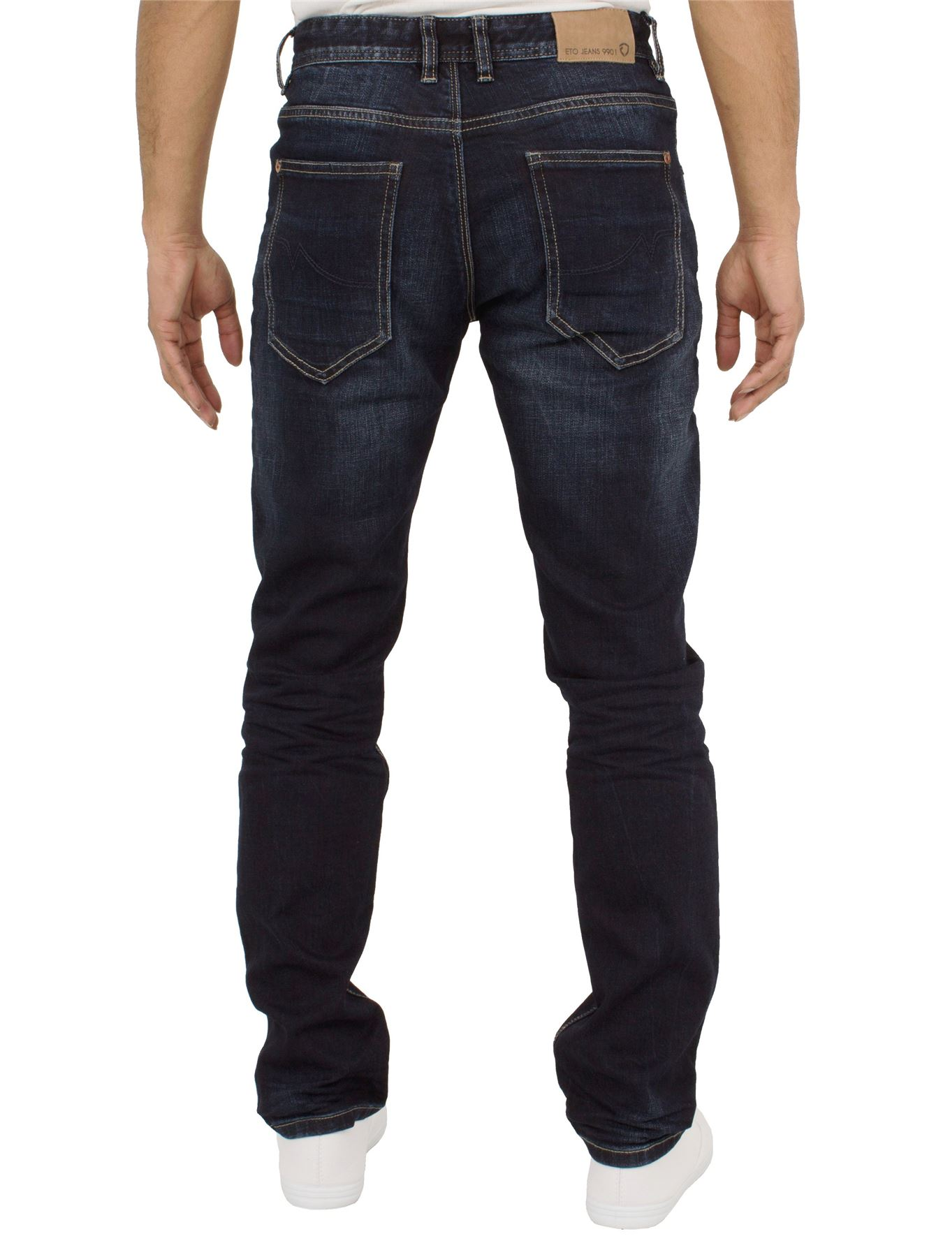 Eto-Designer-Mens-Tapered-Jeans-Slim-Fit-Stretch-Denim-Trouser-Pants-All-Waists thumbnail 16