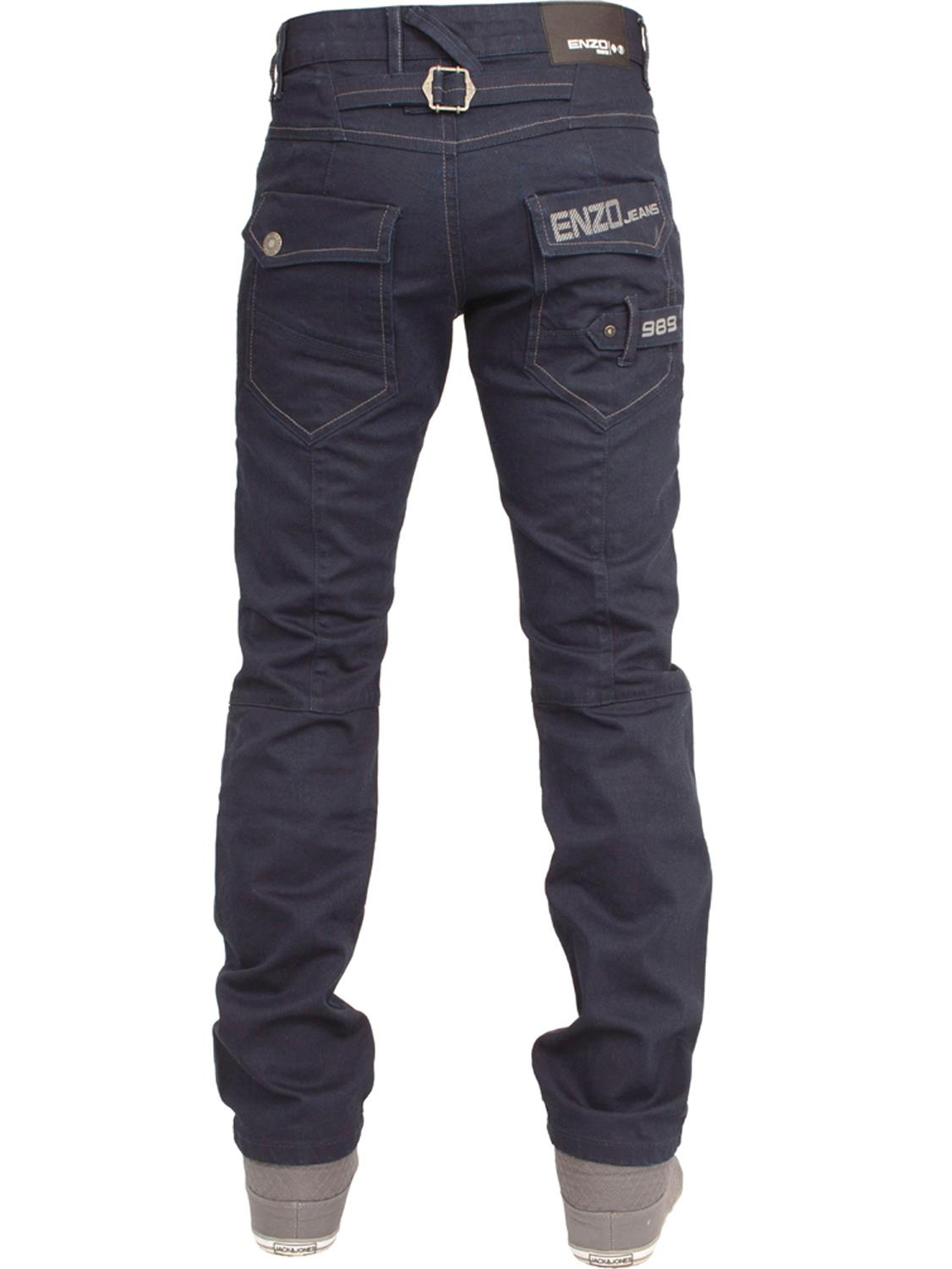 Enzo-Mens-Jeans-Big-Tall-Leg-King-Size-Denim-Pants-Chino-Trousers-Waist-44-034-60-034 miniature 22