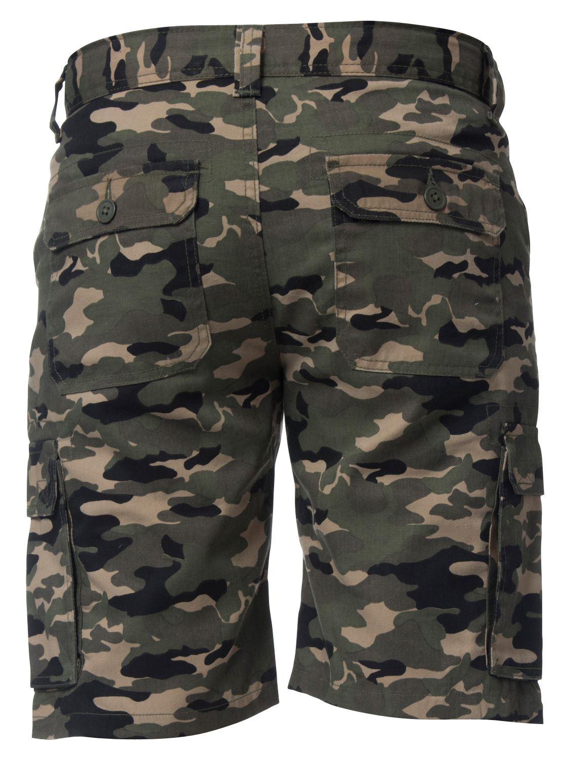 Kruze-Jeans-para-Hombre-Pantalones-Cortos-Combate-del-ejercito-camuflaje-Camo-Trabajo-Shorts miniatura 13