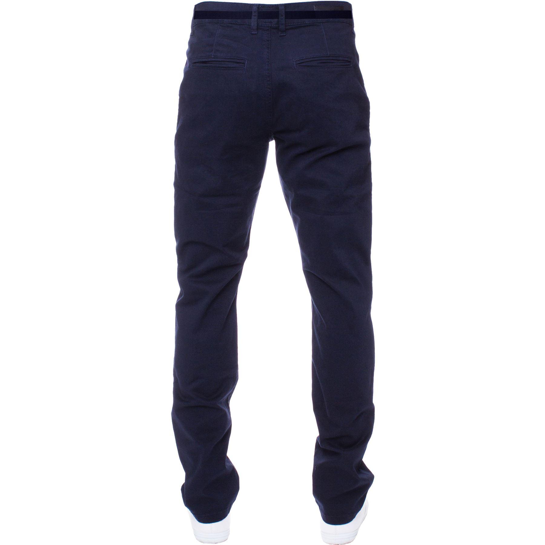 ENZO-Para-Hombres-Pantalones-Slim-Fit-Algodon-Elastico-Pantalones-Chinos-Con-Cinturon-BIG-amp-TALL miniatura 13