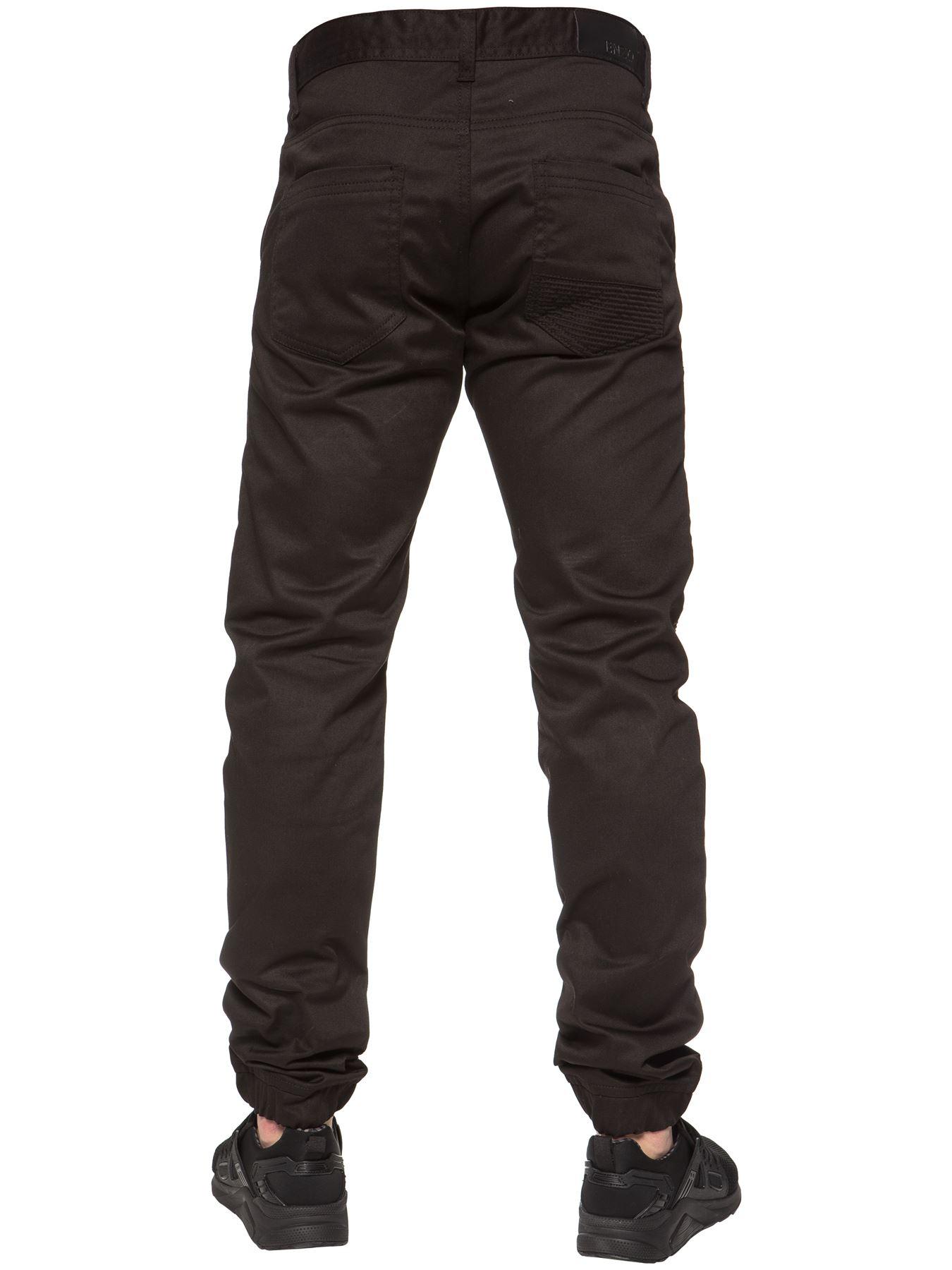 Enzo-Designer-Mens-Cuffed-Chinos-Biker-Jeans-Slim-Denim-Trousers-Pants-Joggers thumbnail 4