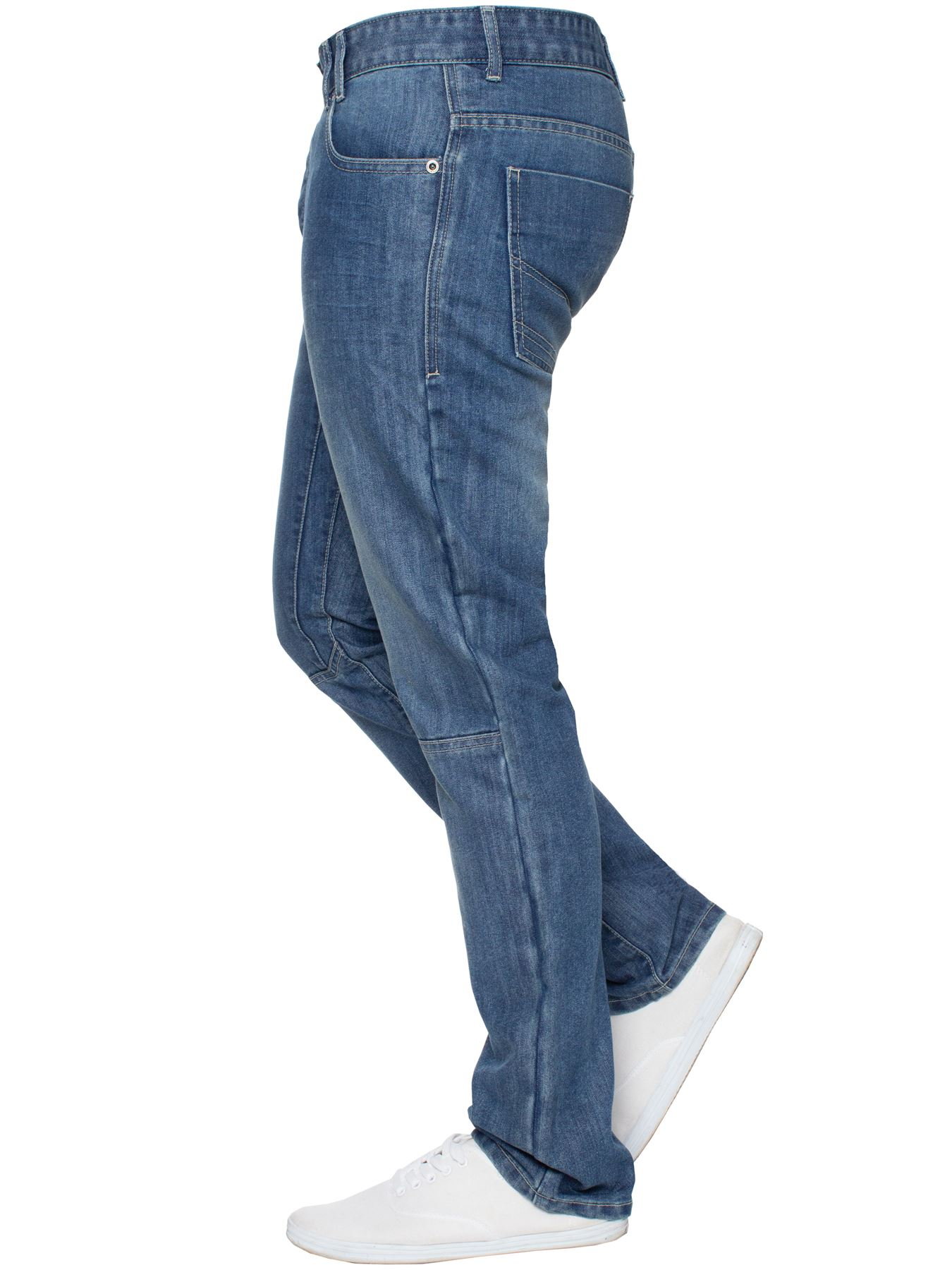 Enzo-Mens-Straight-Jeans-Regular-Leg-Designer-Work-Denim-Pants-All-Waists-Sizes thumbnail 25