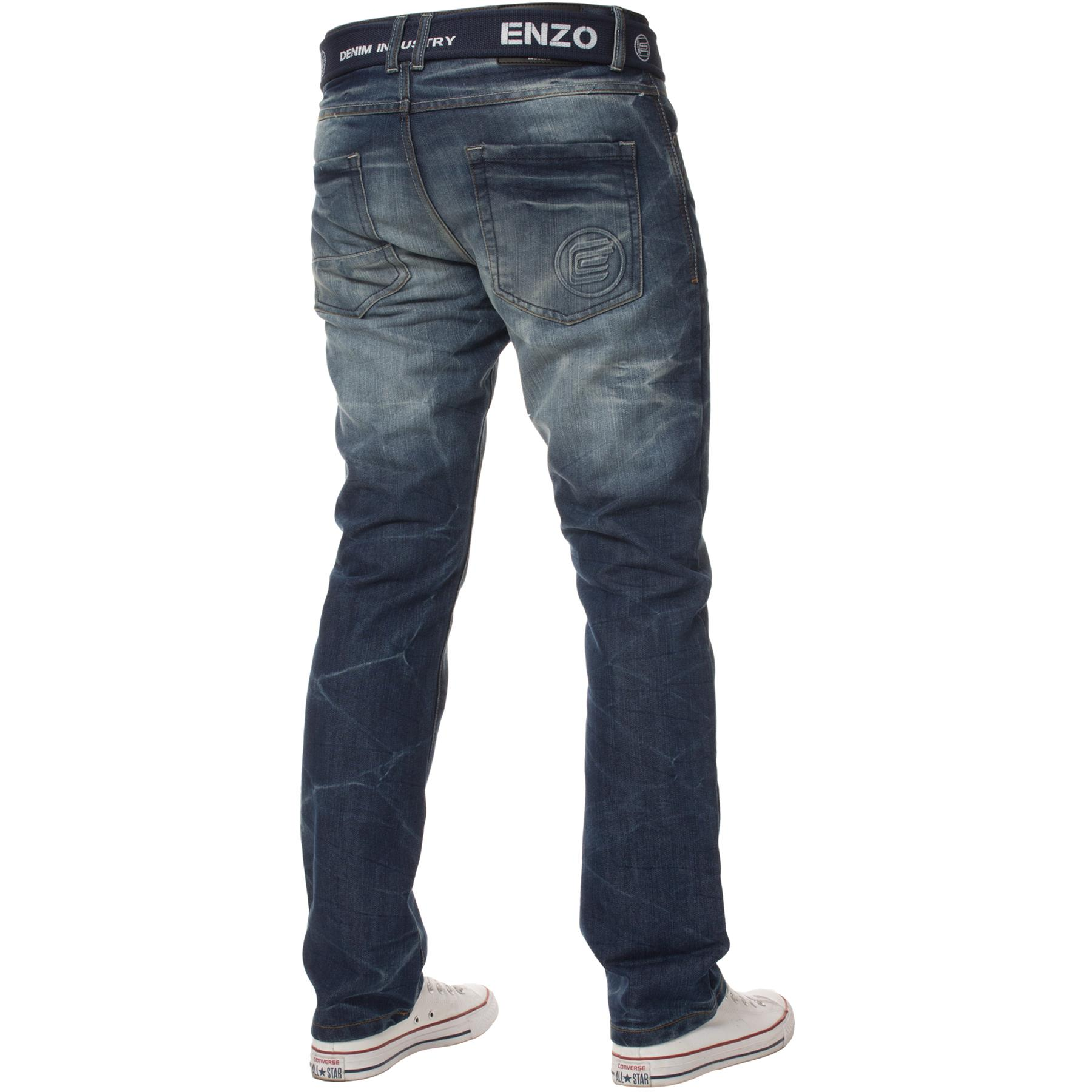 Enzo-Mens-Jeans-Big-Tall-Leg-King-Size-Denim-Pants-Chino-Trousers-Waist-44-034-60-034 miniature 70