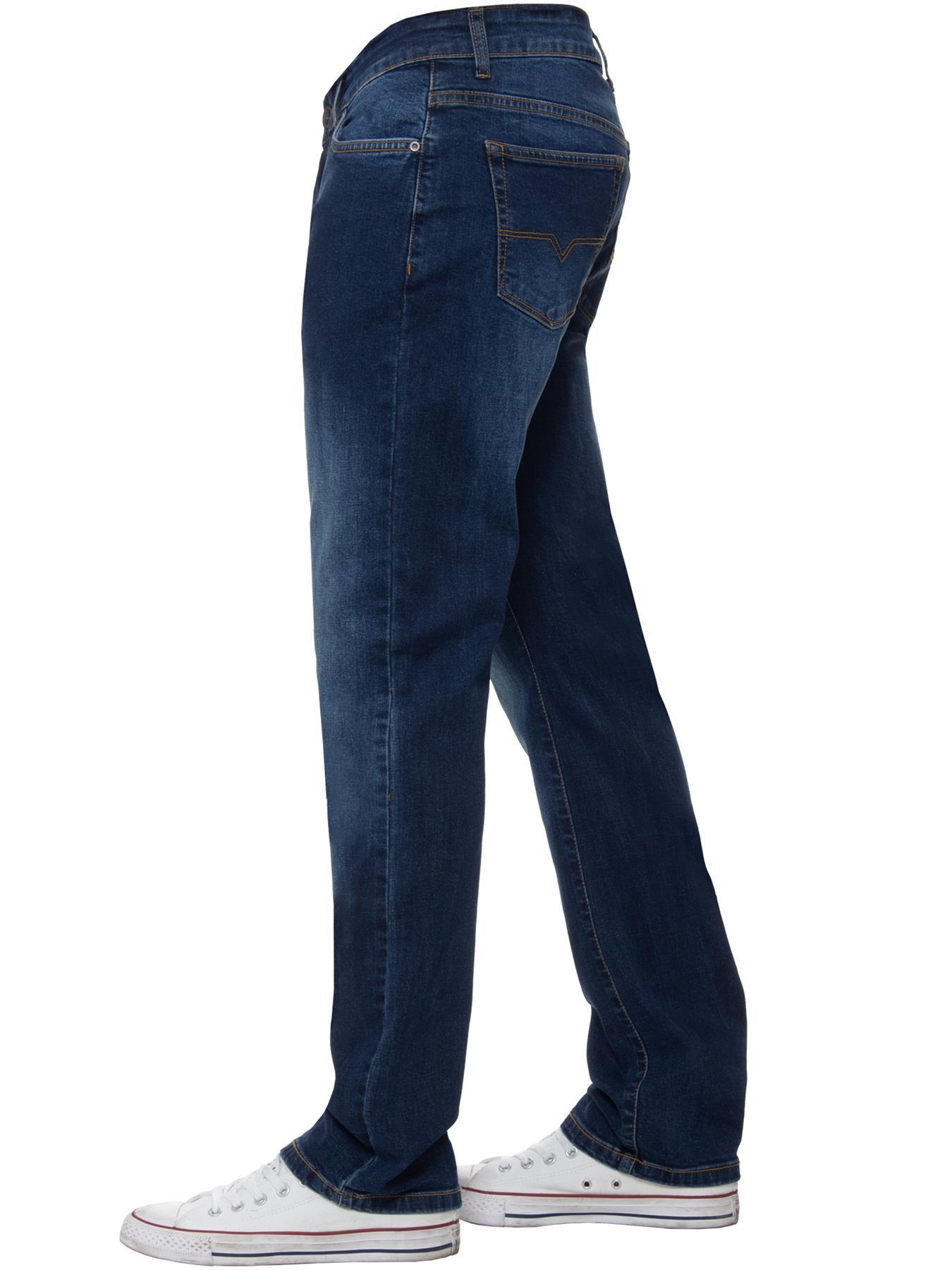 Para-Hombre-Pierna-Recta-Bootcut-Stretch-Denim-Regulares-Pantalon-de-trabajo-Kruze-Todas-Cinturas miniatura 44