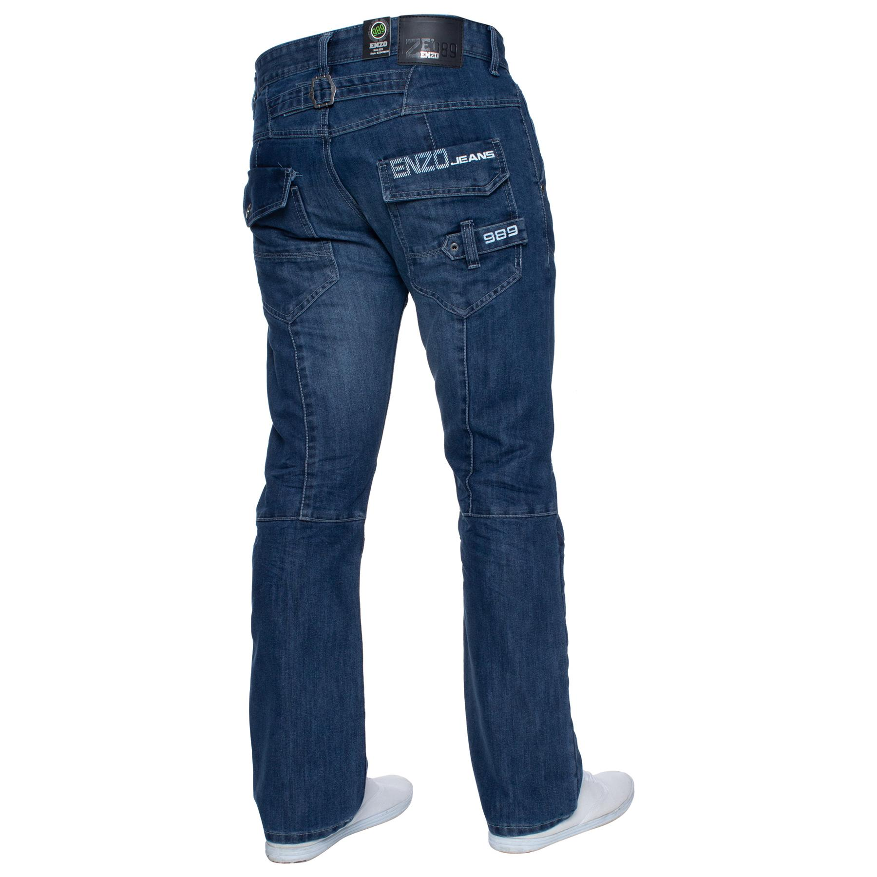 Enzo-Mens-Jeans-Big-Tall-Leg-King-Size-Denim-Pants-Chino-Trousers-Waist-44-034-60-034 miniature 98