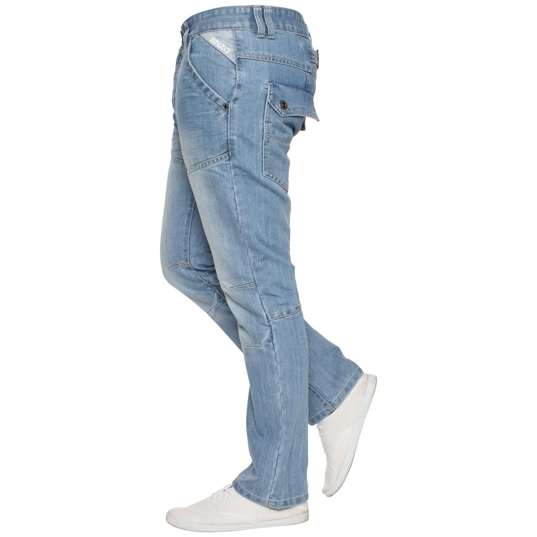 Enzo-Mens-Jeans-Big-Tall-Leg-King-Size-Denim-Pants-Chino-Trousers-Waist-44-034-60-034 miniature 52