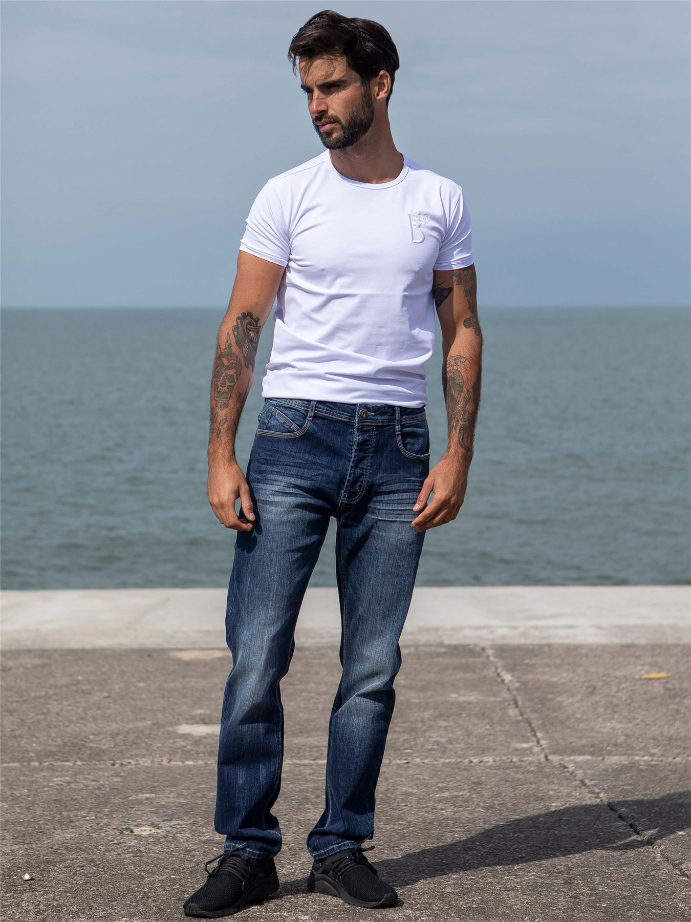 Eto-Designer-Mens-Tapered-Jeans-Slim-Fit-Stretch-Denim-Trouser-Pants-All-Waists thumbnail 8