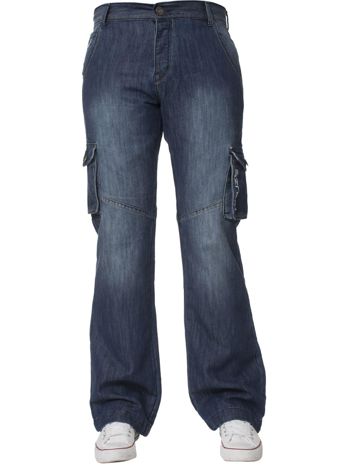 Grandes-jeans-para-hombre-de-combate-de-Kruze-Rey-Alto-Pierna-Cargo-Pantalones-Jeans-Pantalones miniatura 3