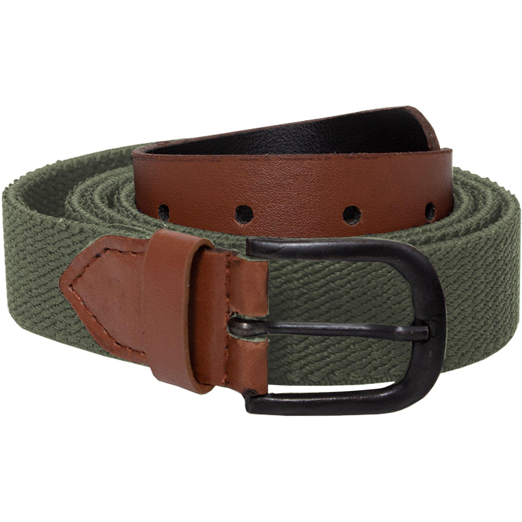 Mens-Ladies-Elasticated-Webbing-Belts-PU-Leather-Trim-Stretch-Canvas-Buckle-Belt Indexbild 13