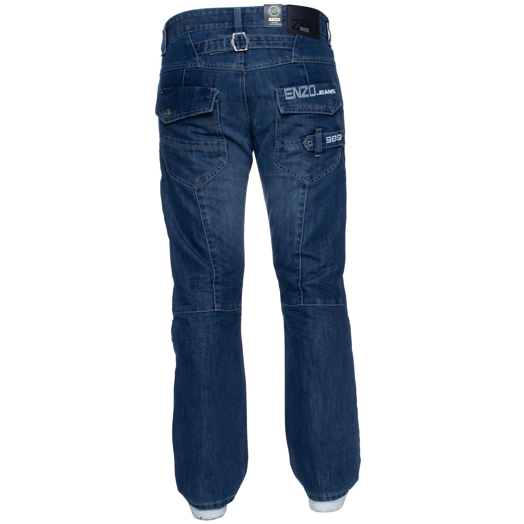 Enzo-Mens-Jeans-Big-Tall-Leg-King-Size-Denim-Pants-Chino-Trousers-Waist-44-034-60-034 miniature 101