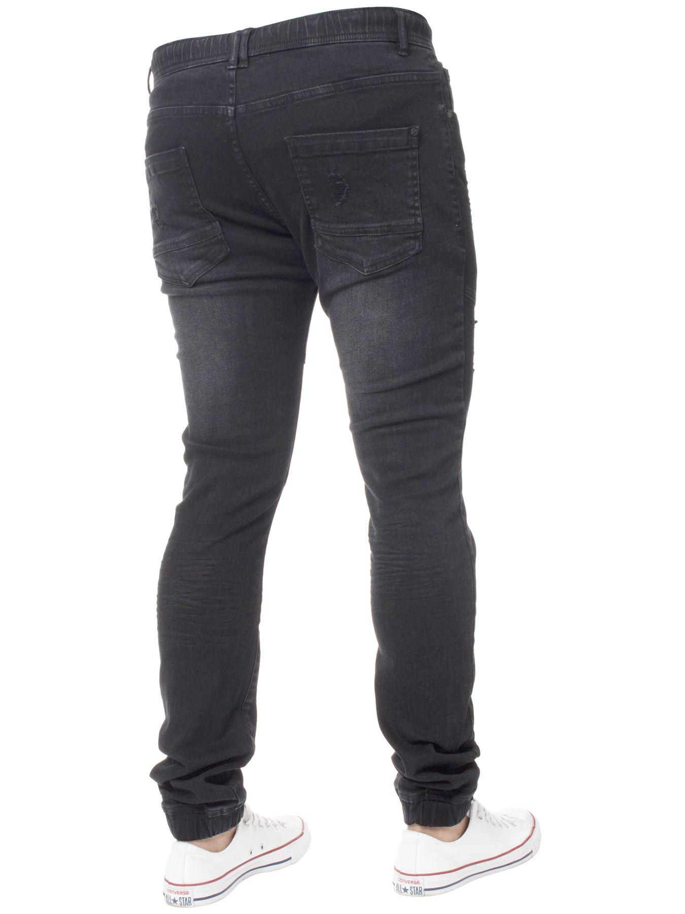 Enzo-Mens-Cuffed-Jeans-Stretch-Fit-Ripped-Denim-Jogger-Pants-Big-Tall-All-Waists thumbnail 4