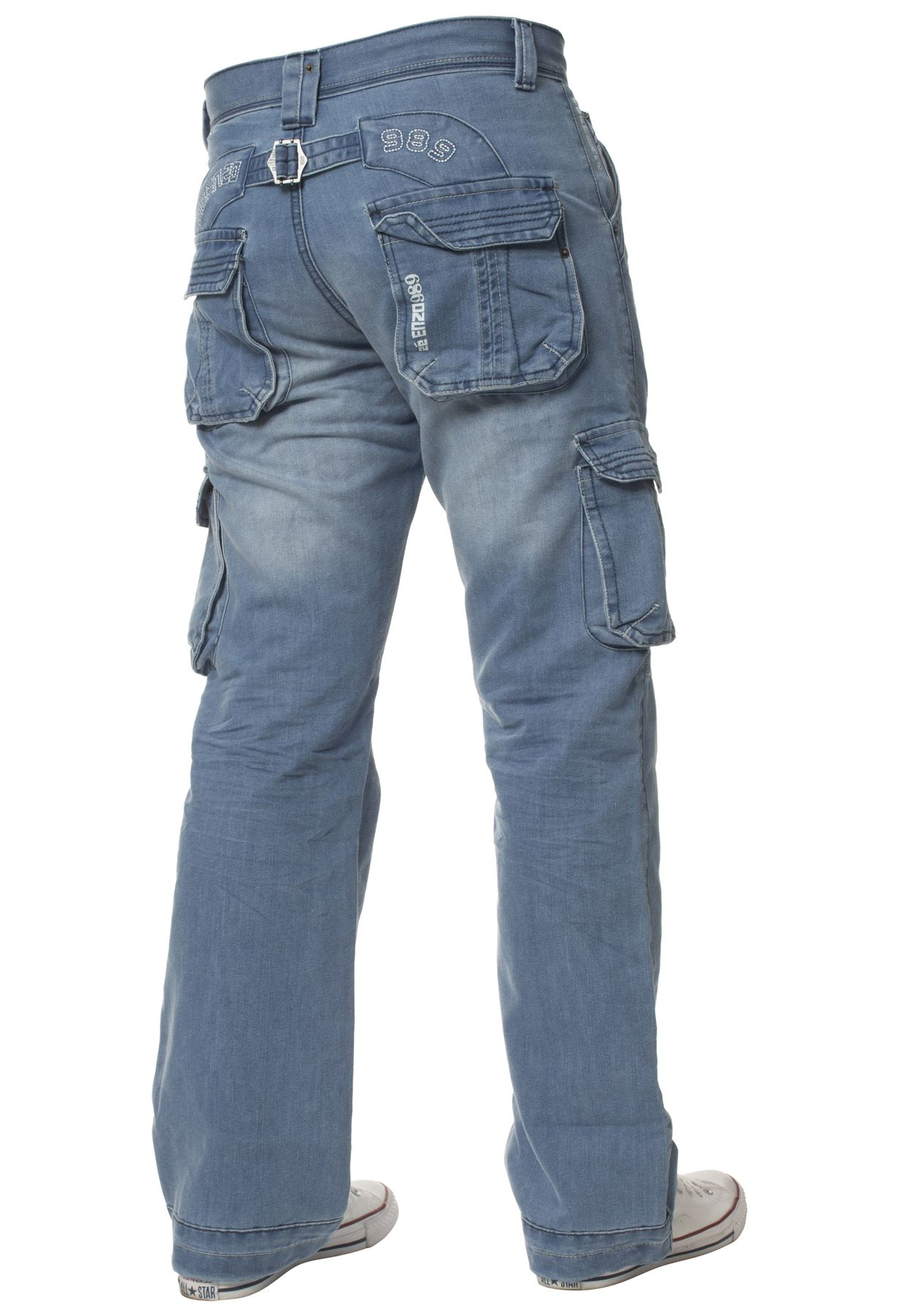 Enzo-Mens-Cargo-Combat-Trousers-Jeans-Work-Casual-Denim-Pants-Big-Tall-All-Waist thumbnail 14