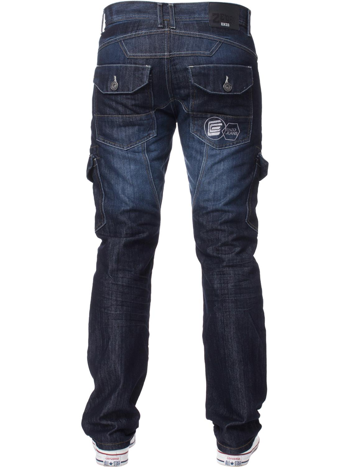 Enzo-Mens-Jeans-Big-Tall-Leg-King-Size-Denim-Pants-Chino-Trousers-Waist-44-034-60-034 miniature 81