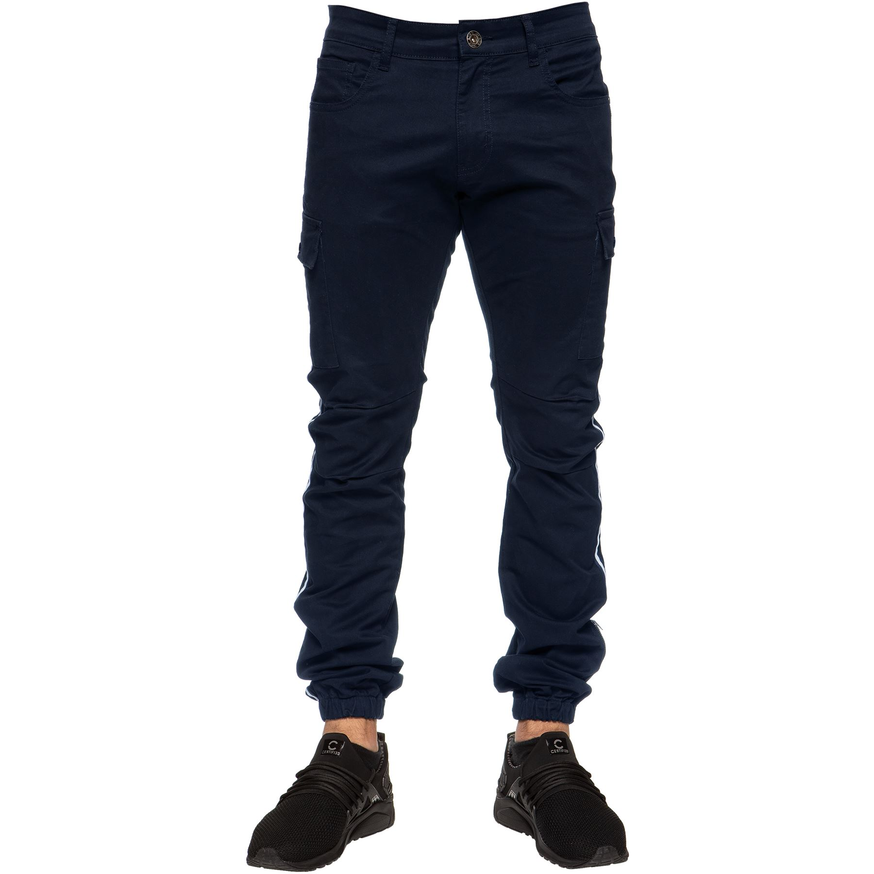 Enzo-Jeans-Mens-Combat-Trousers-Cargo-Chinos-Slim-Stretch-Cuffed-Joggers-Pants thumbnail 9
