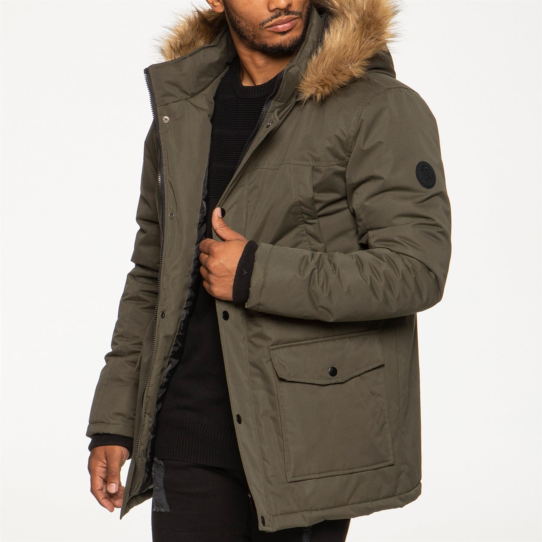 Mens-Parka-Jacket-Faux-Fur-Trimmed-Hooded-Winter-Warm-Long-Padded-Outerwear-Coat thumbnail 11