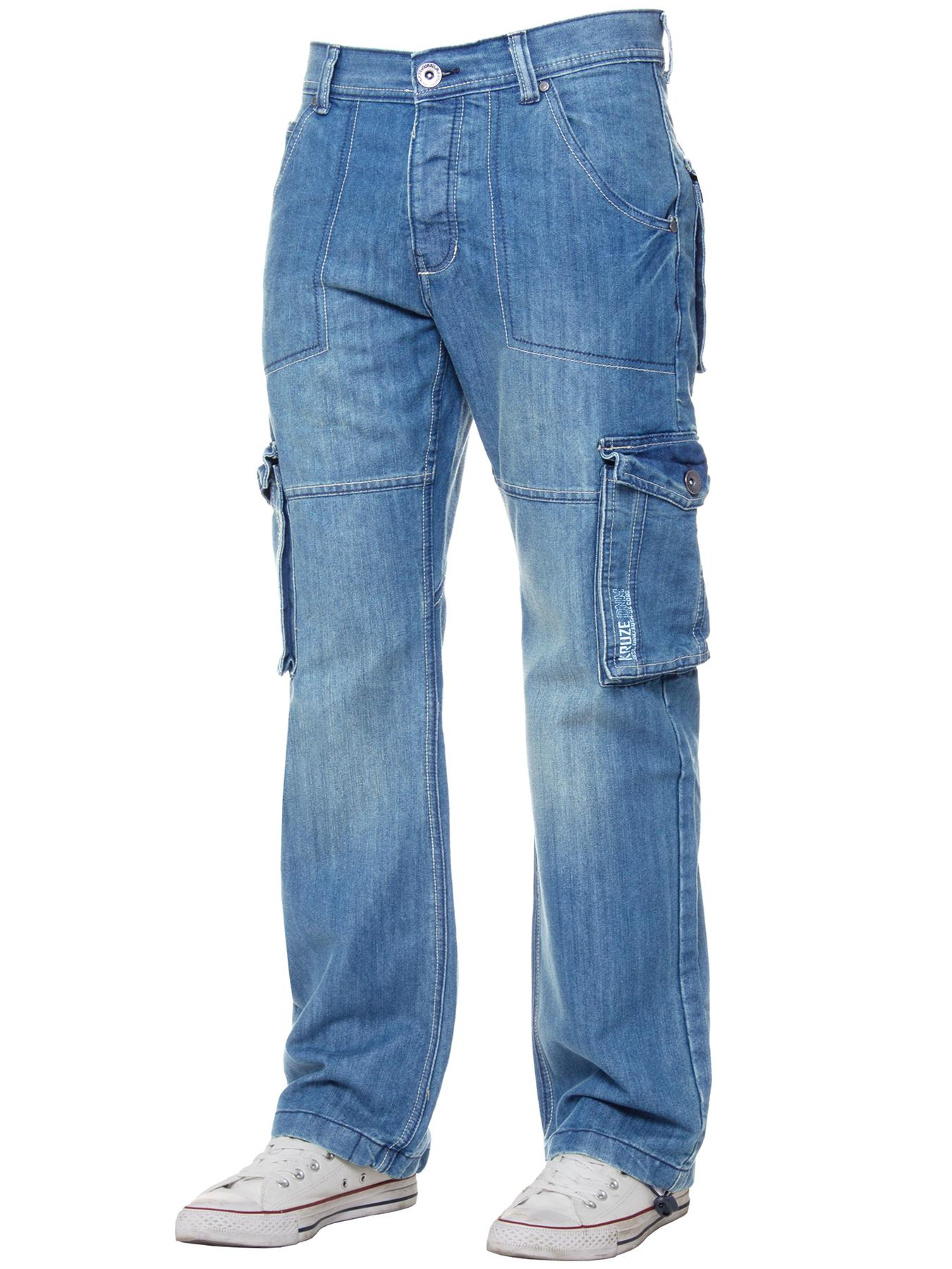 Kruze-Mens-Cargo-Combat-Jeans-Casual-Work-Denim-Pants-Big-Tall-All-Waist-Sizes thumbnail 46