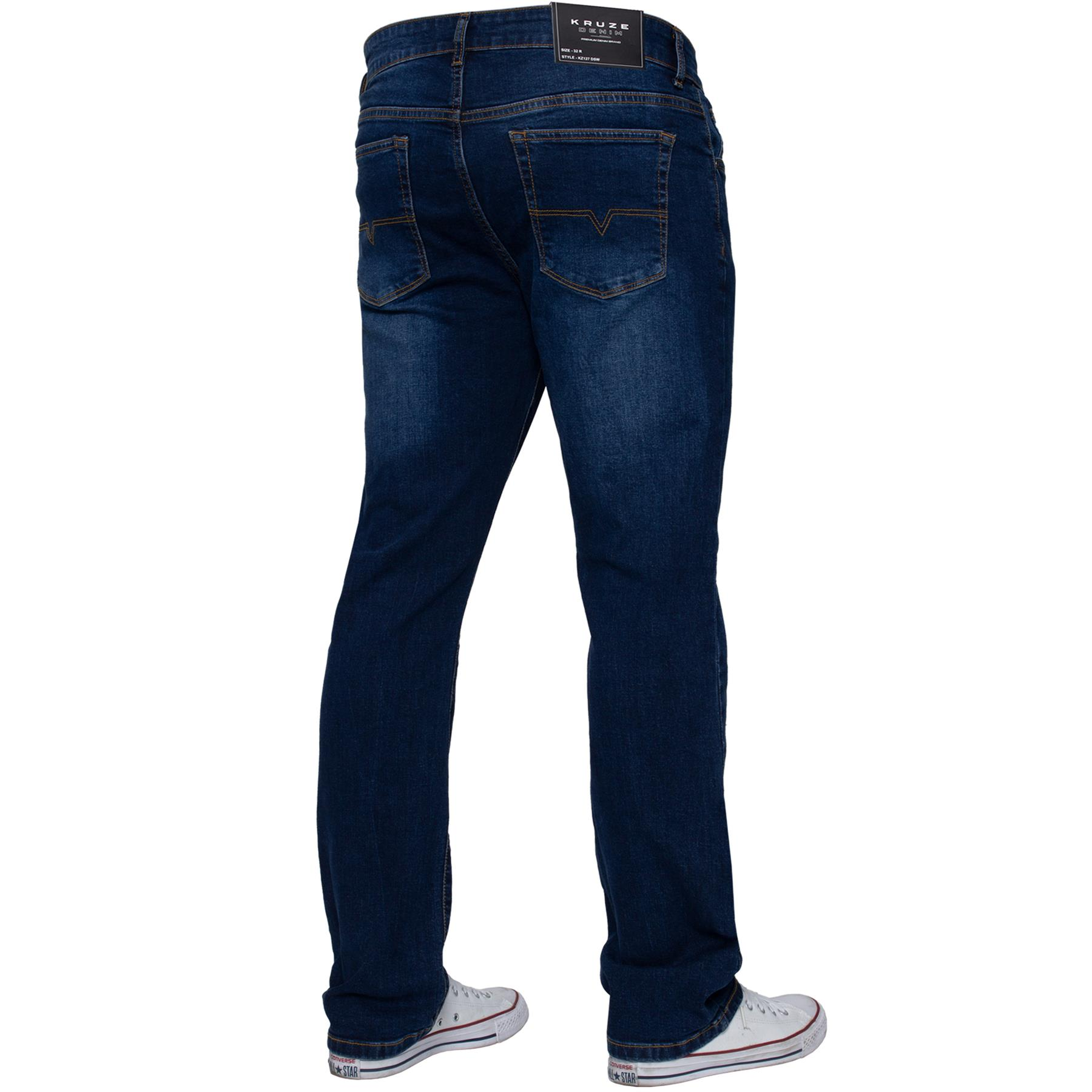 Kruze-Mens-Basic-Straight-Leg-Bootcut-Stretch-Jeans-Denim-Regular-Big-Tall-Waist thumbnail 26