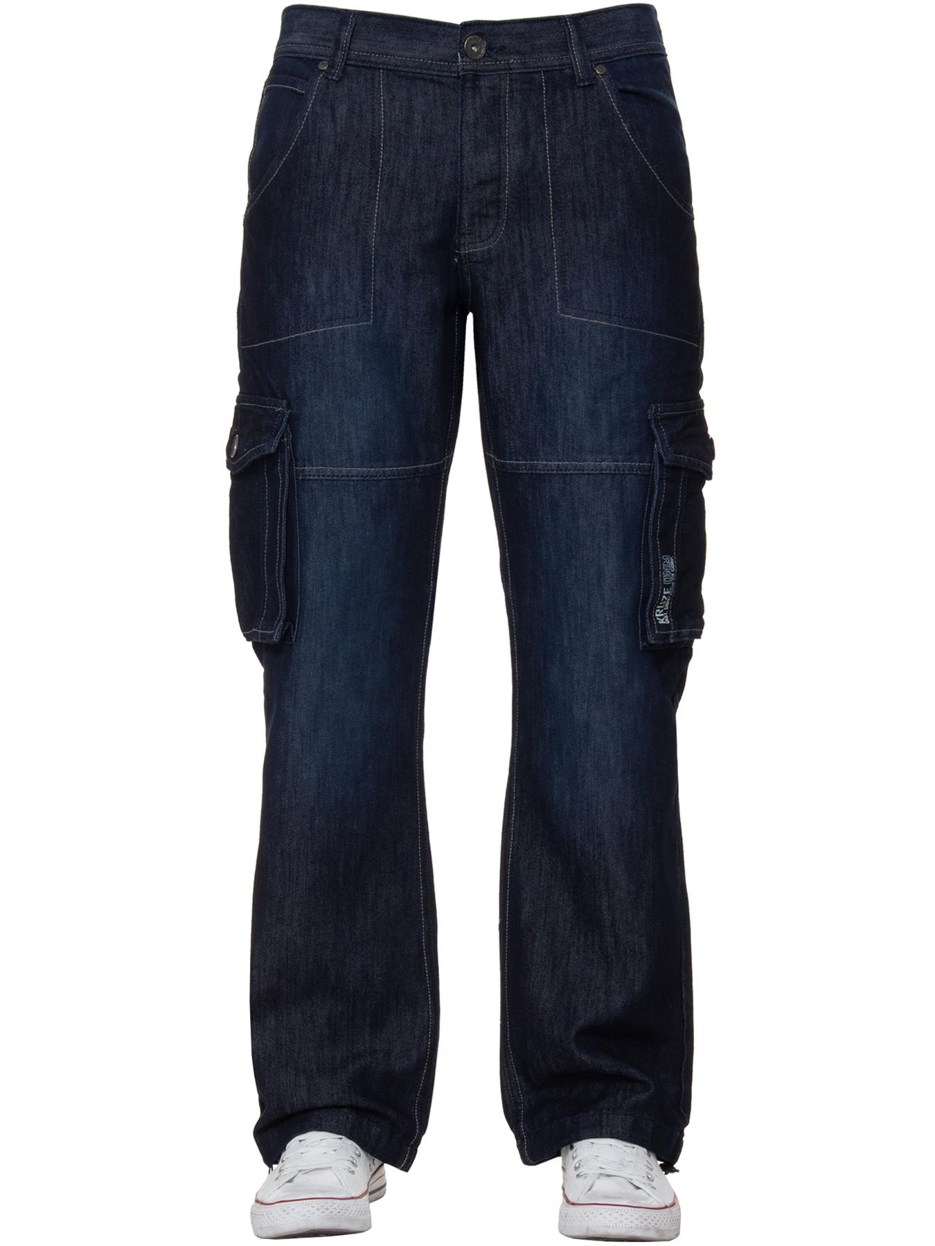 Kruze-Mens-Cargo-Combat-Jeans-Casual-Work-Denim-Pants-Big-Tall-All-Waist-Sizes thumbnail 25