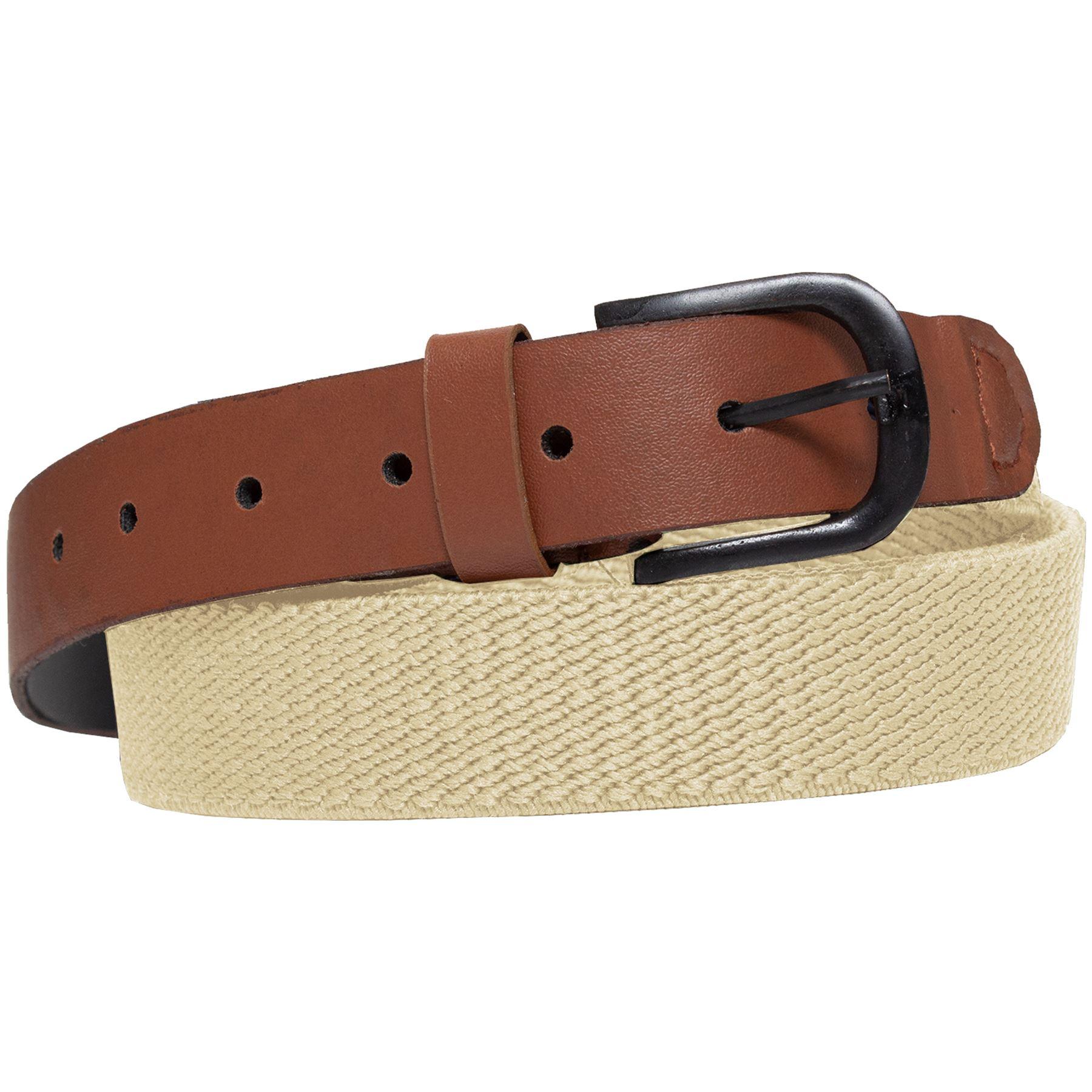 ENZO-Mens-Womens-Elasticated-Belts-Canvas-Stretch-PU-Leather-Trim-Braided-Belt Indexbild 8