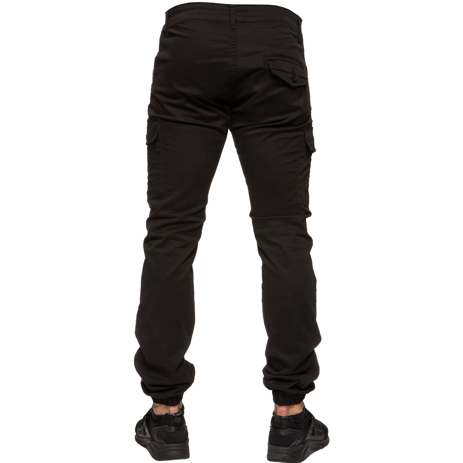 Enzo-Jeans-Mens-Combat-Trousers-Cargo-Chinos-Slim-Stretch-Cuffed-Joggers-Pants thumbnail 4