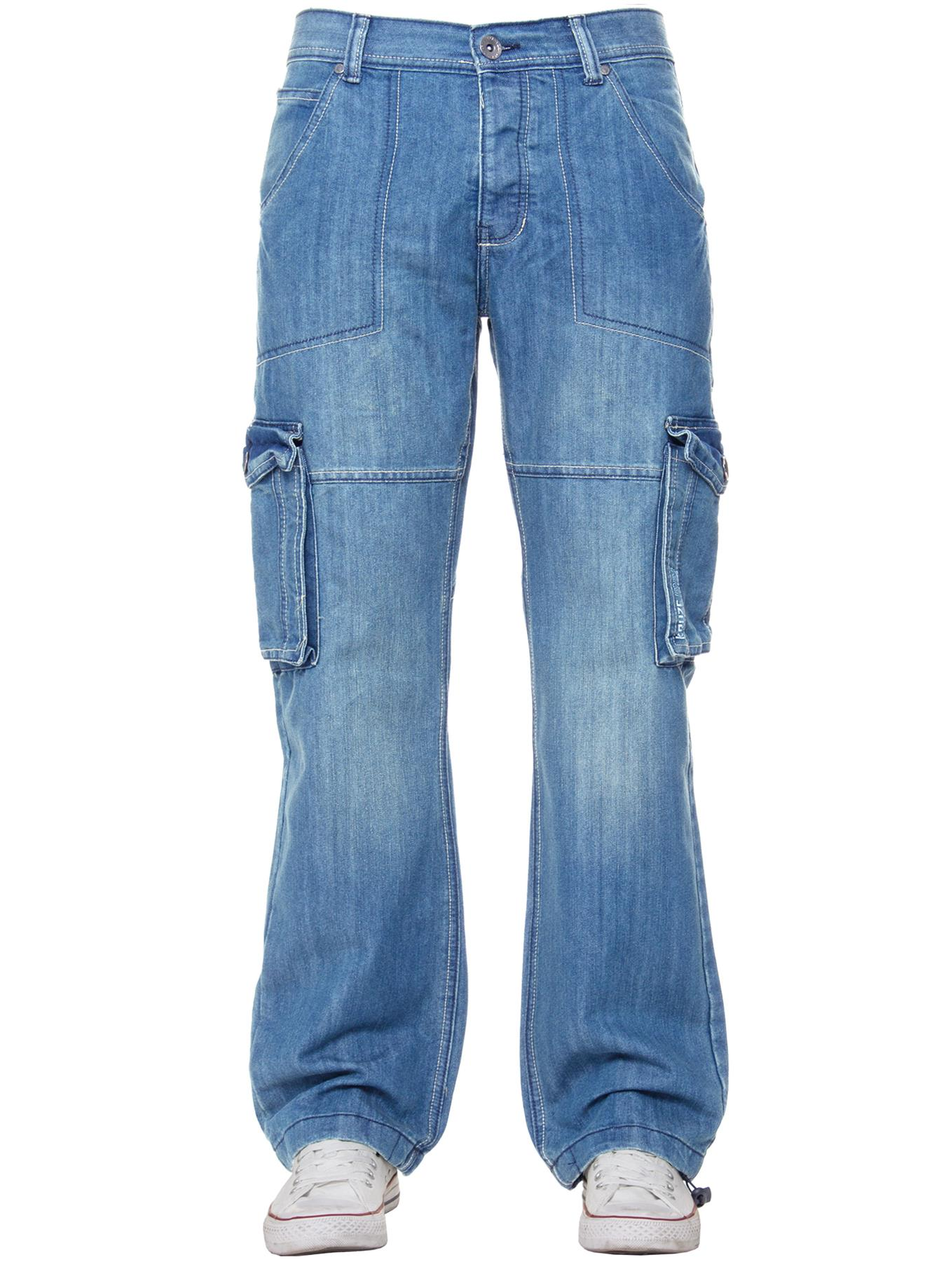 Kruze-Mens-Cargo-Combat-Jeans-Casual-Work-Denim-Pants-Big-Tall-All-Waist-Sizes thumbnail 49