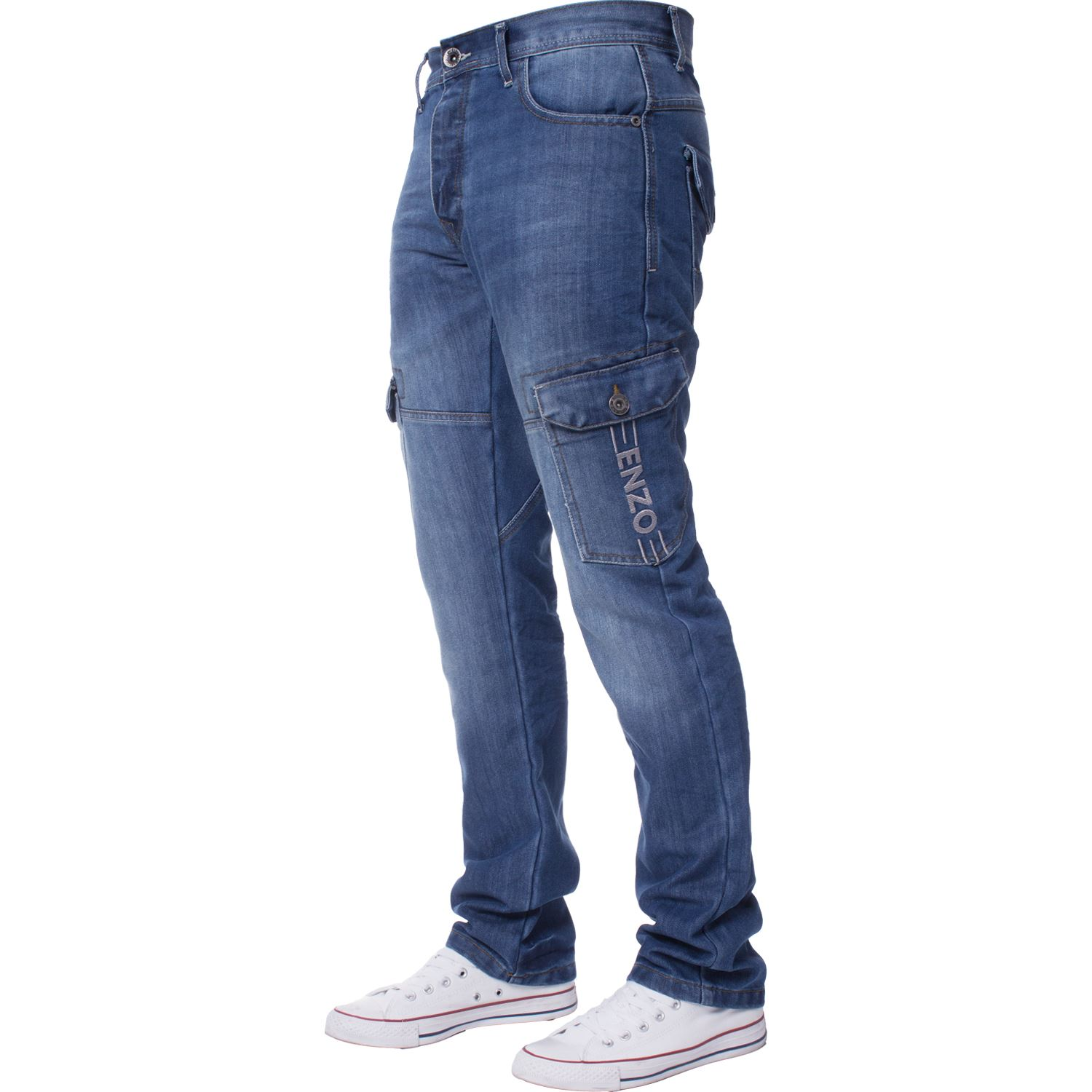 Enzo-Designer-Mens-Regular-Fit-Jeans-Straight-Leg-Denim-Trousers-Pants-All-Waist thumbnail 12
