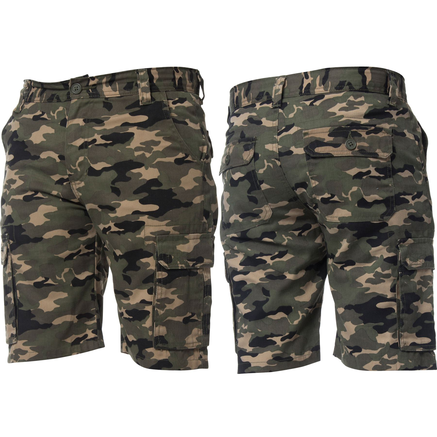 Kruze-Jeans-Mens-Army-Combat-Shorts-Camouflage-Cargo-Casual-Camo-Work-Half-Pants thumbnail 17