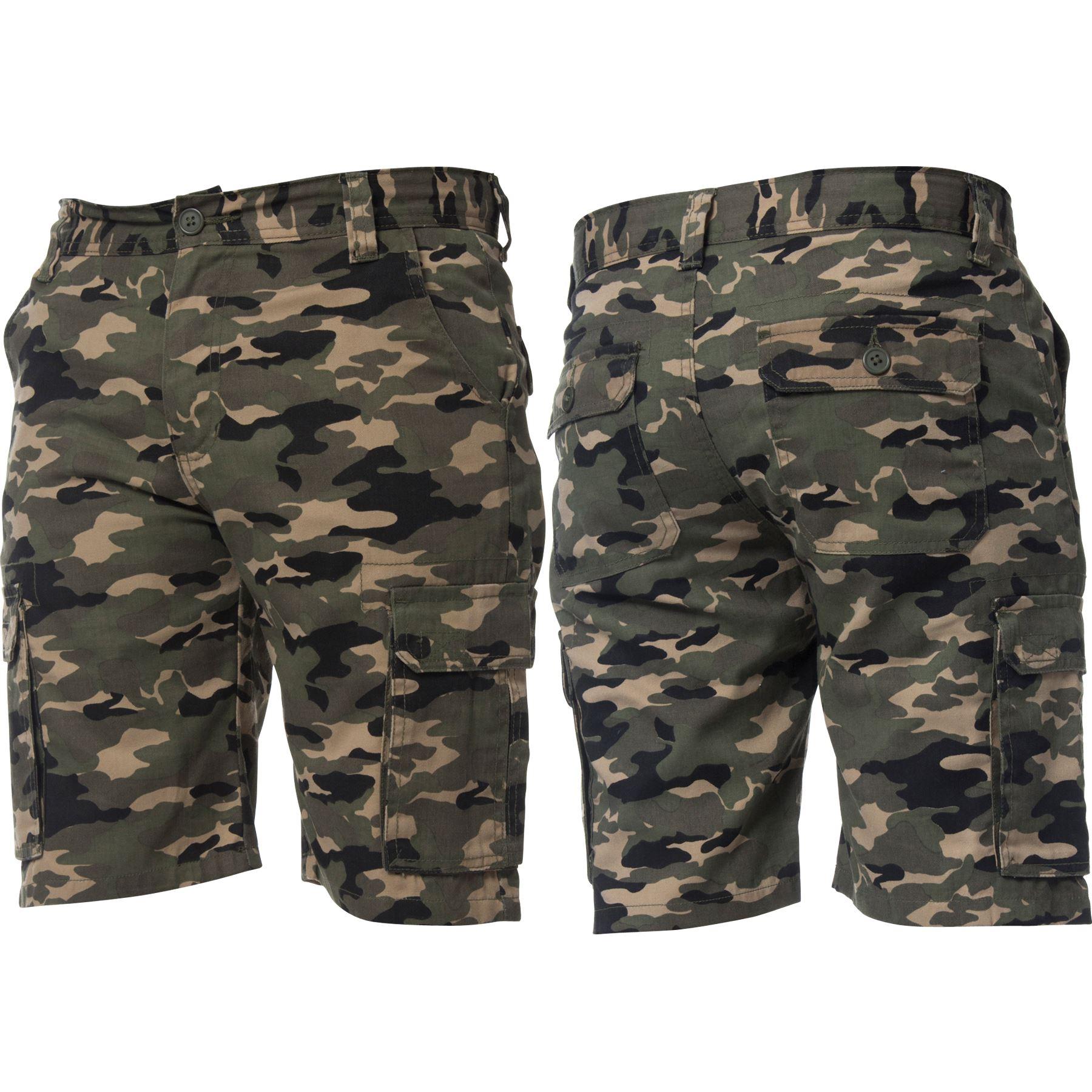 Kruze-Jeans-para-Hombre-Pantalones-Cortos-Combate-del-ejercito-camuflaje-Camo-Trabajo-Shorts miniatura 17