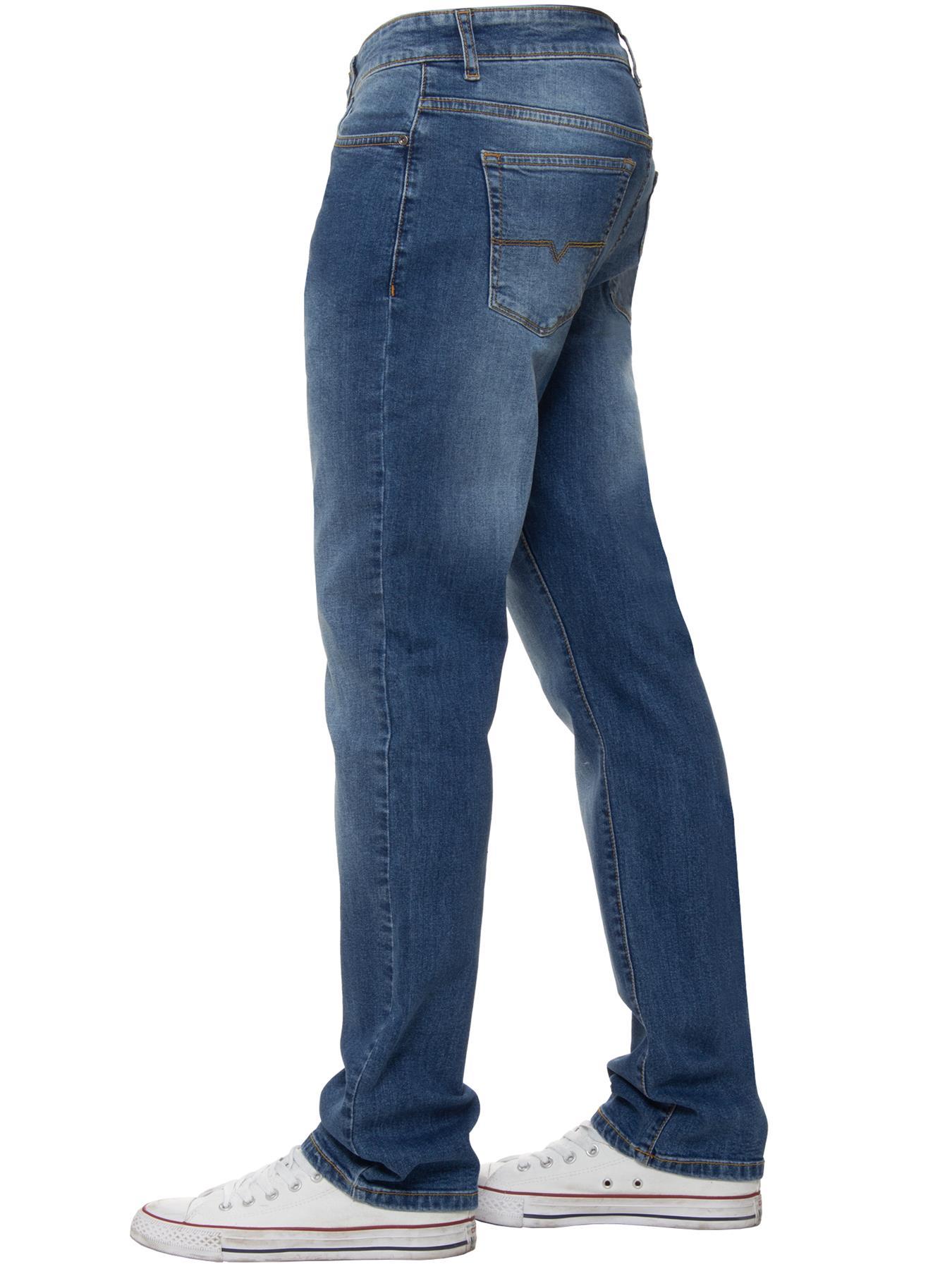 Para-Hombre-Pierna-Recta-Bootcut-Stretch-Denim-Regulares-Pantalon-de-trabajo-Kruze-Todas-Cinturas miniatura 11