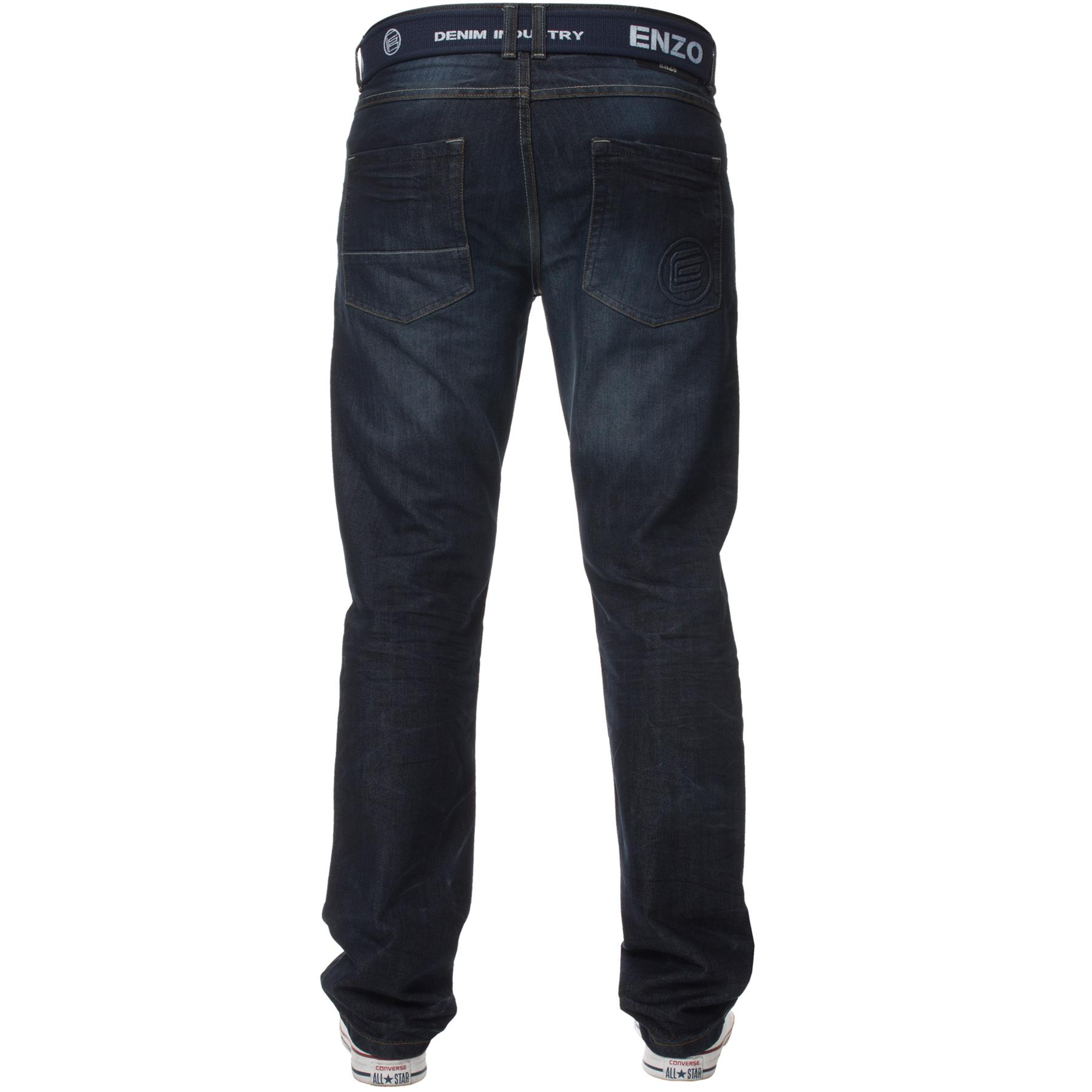 Enzo-Mens-Jeans-Big-Tall-Leg-King-Size-Denim-Pants-Chino-Trousers-Waist-44-034-60-034 miniature 76