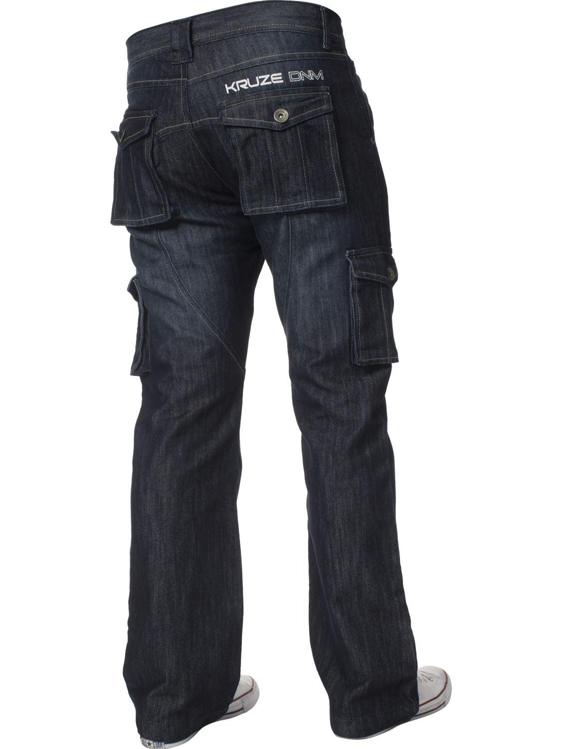 Grandes-jeans-para-hombre-de-combate-de-Kruze-Rey-Alto-Pierna-Cargo-Pantalones-Jeans-Pantalones miniatura 15