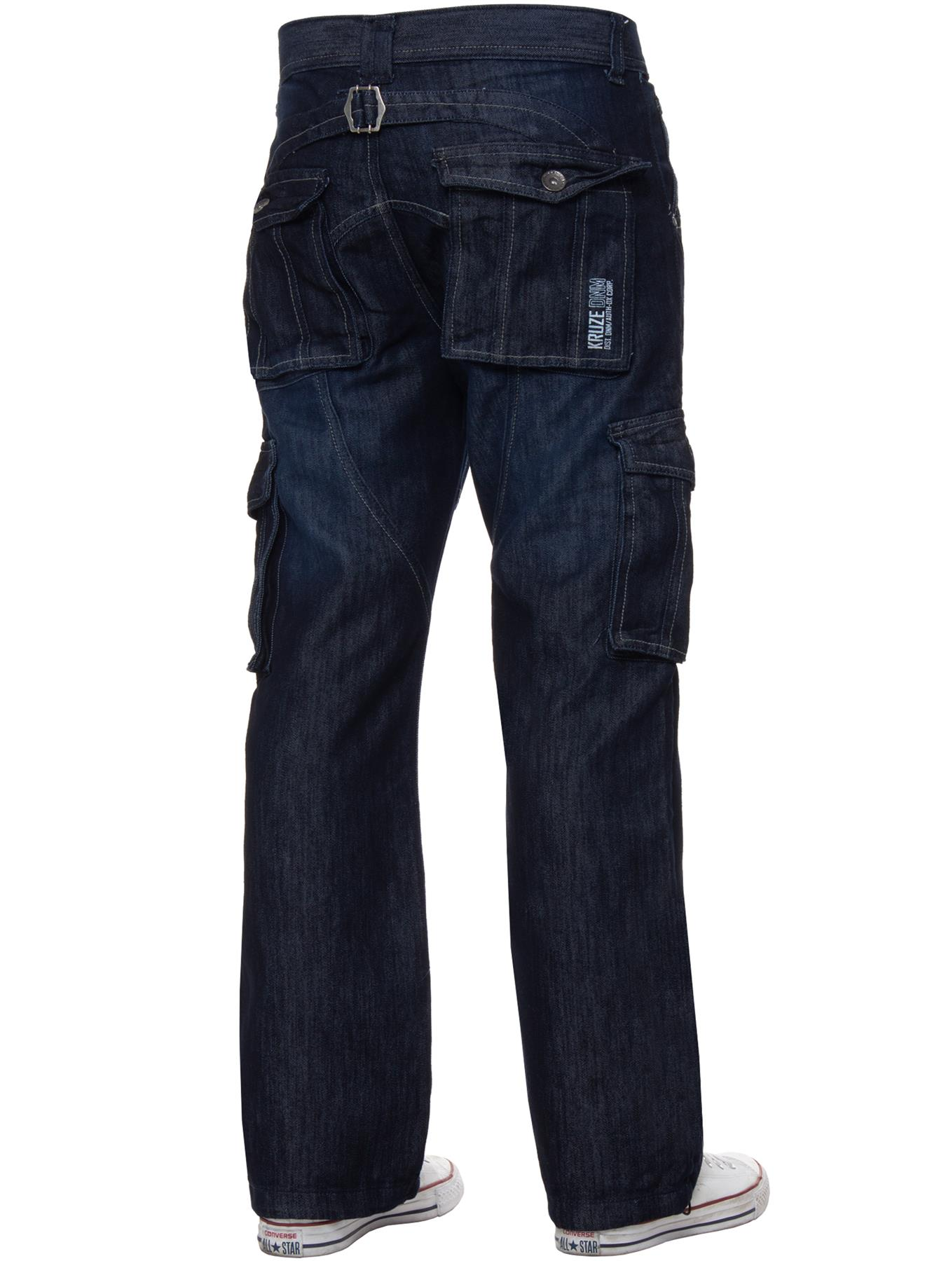 Kruze-Mens-Cargo-Combat-Jeans-Casual-Work-Denim-Pants-Big-Tall-All-Waist-Sizes thumbnail 23