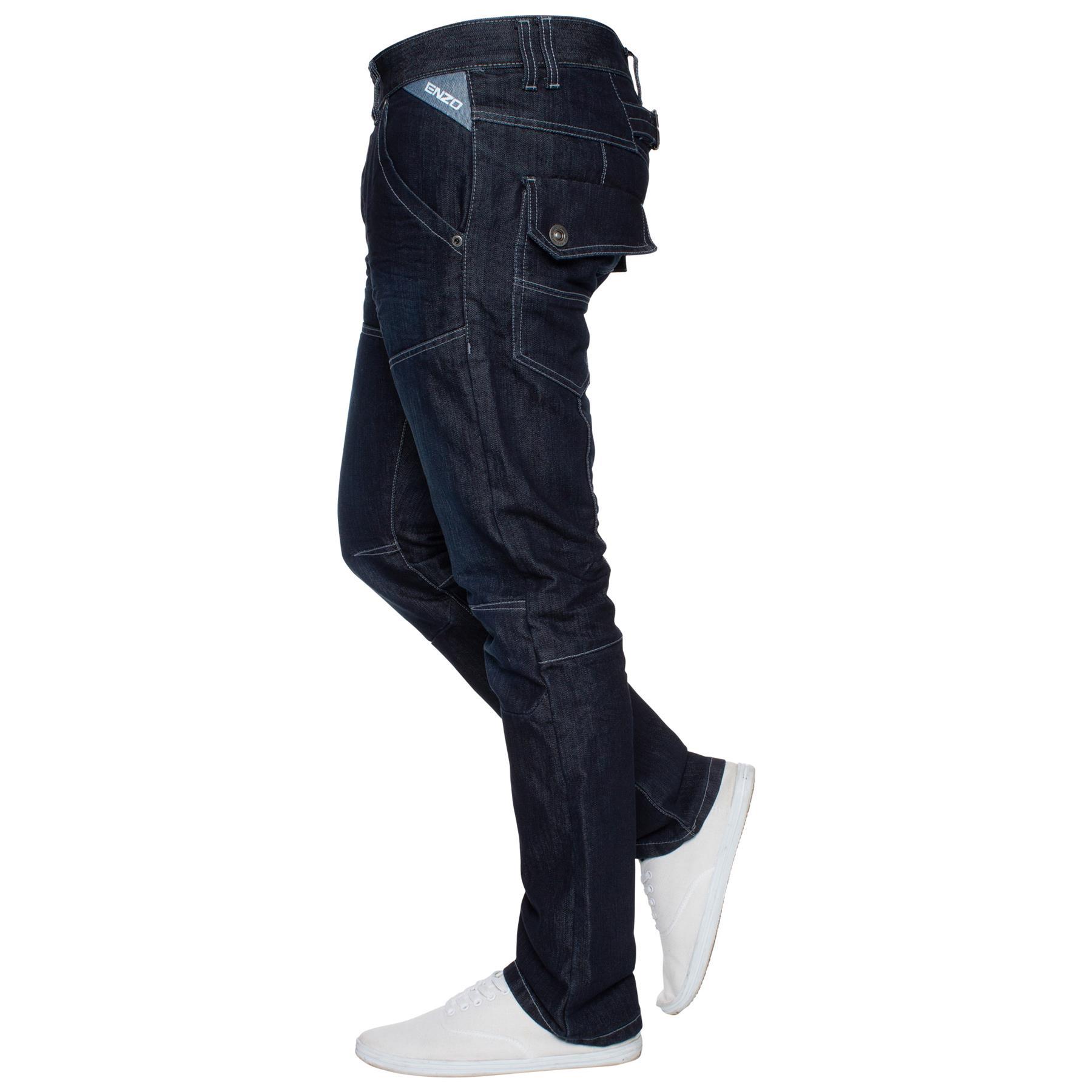 Enzo-Mens-Big-Tall-Jeans-Leg-King-Size-Denim-Pants-Chino-Trousers-Pants-44-034-60-034 thumbnail 70