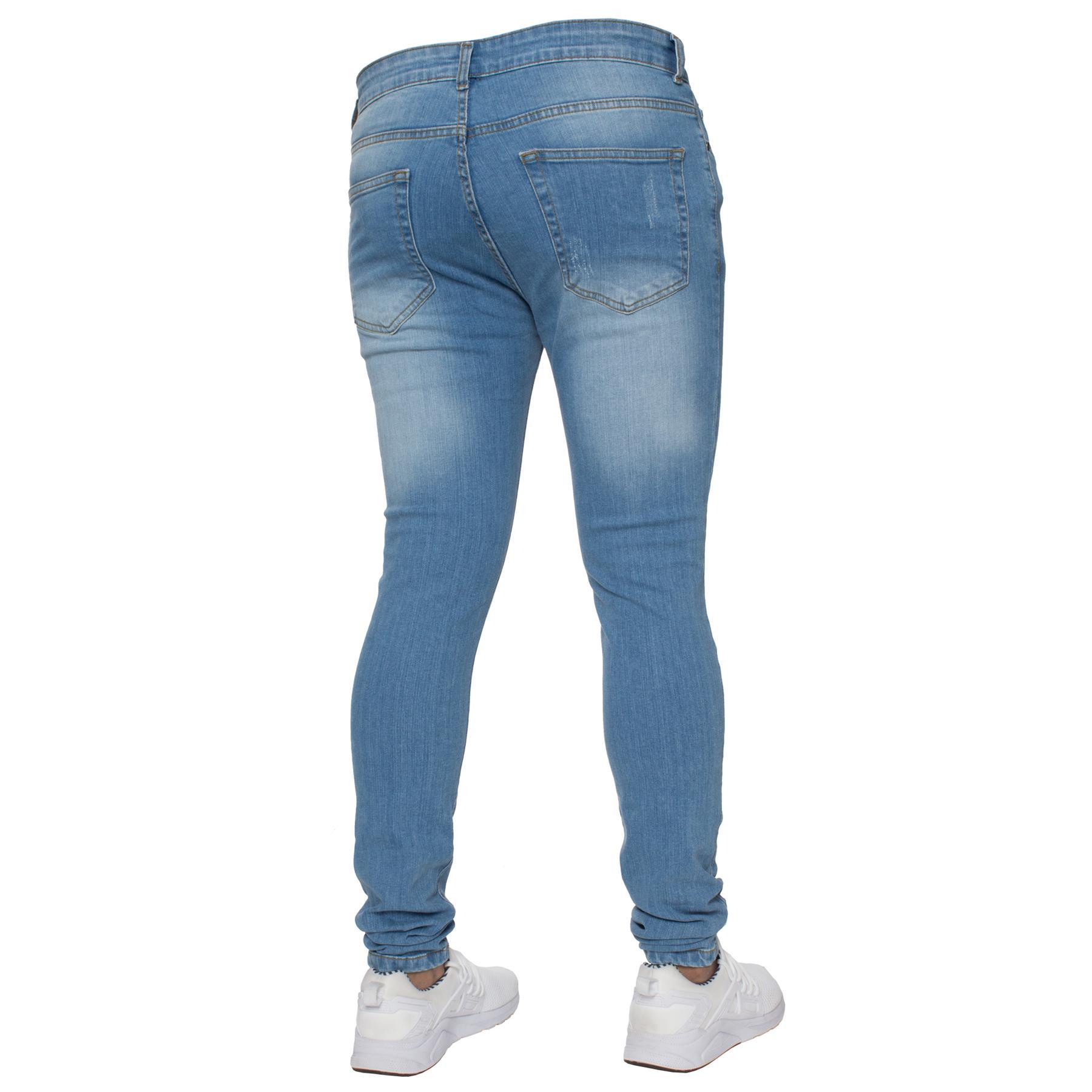 Para-hombre-Super-Skinny-Ripped-Jeans-Pantalones-Ajustados-desgastados-Denim-Envejecido-Todas miniatura 11