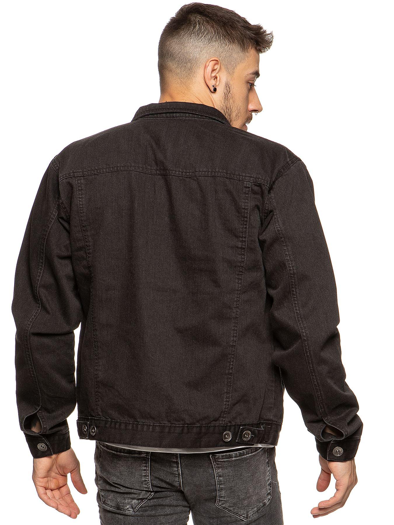 Enzo-Mens-Denim-Jacket-Classic-Western-Style-Designer-Trucker-Vintage-Style-Coat thumbnail 3