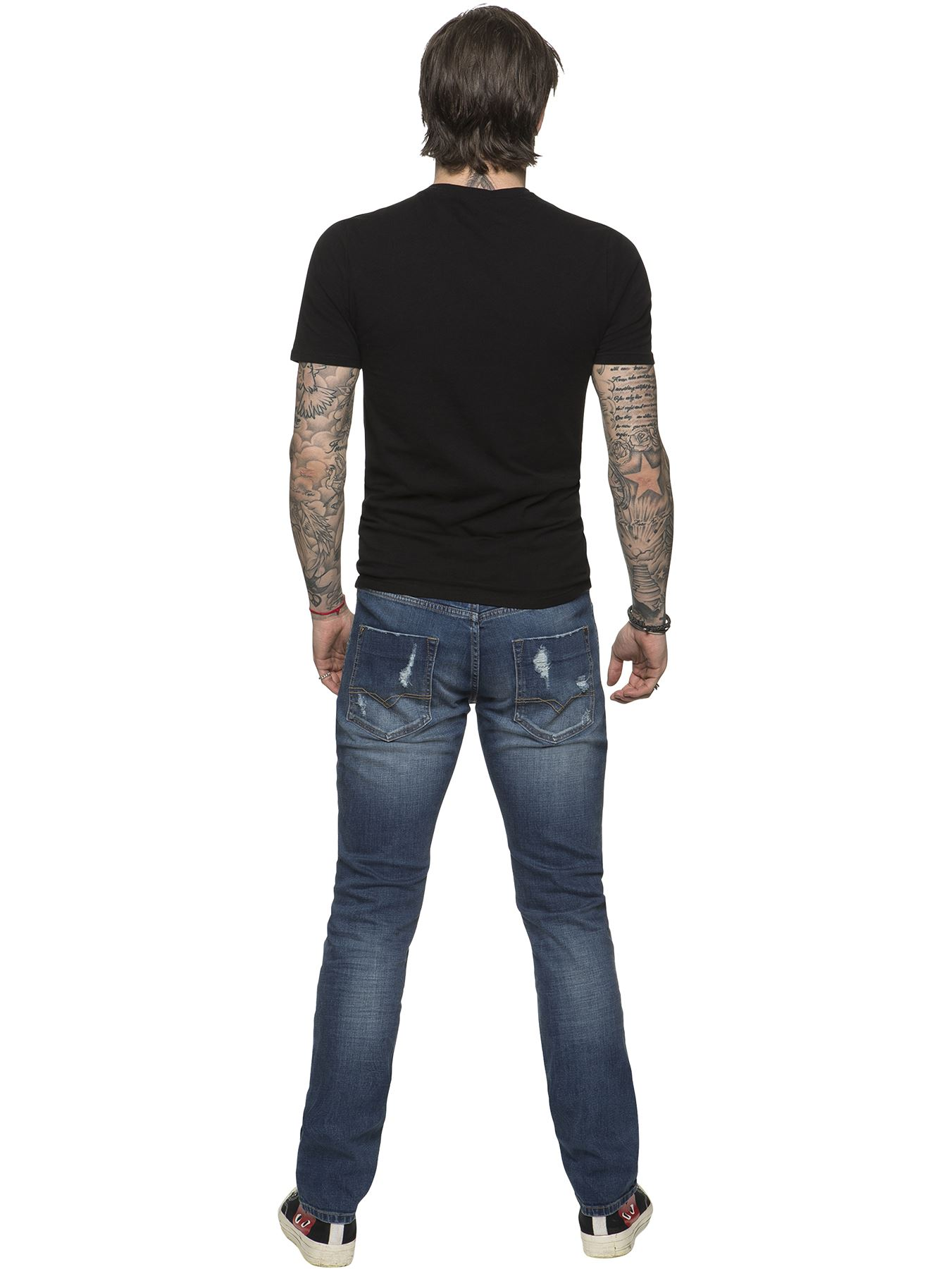 ETO-Designer-Mens-Ripped-Blue-Jeans-Distressed-Denim-Tapered-Fit-Trousers-Pants thumbnail 5