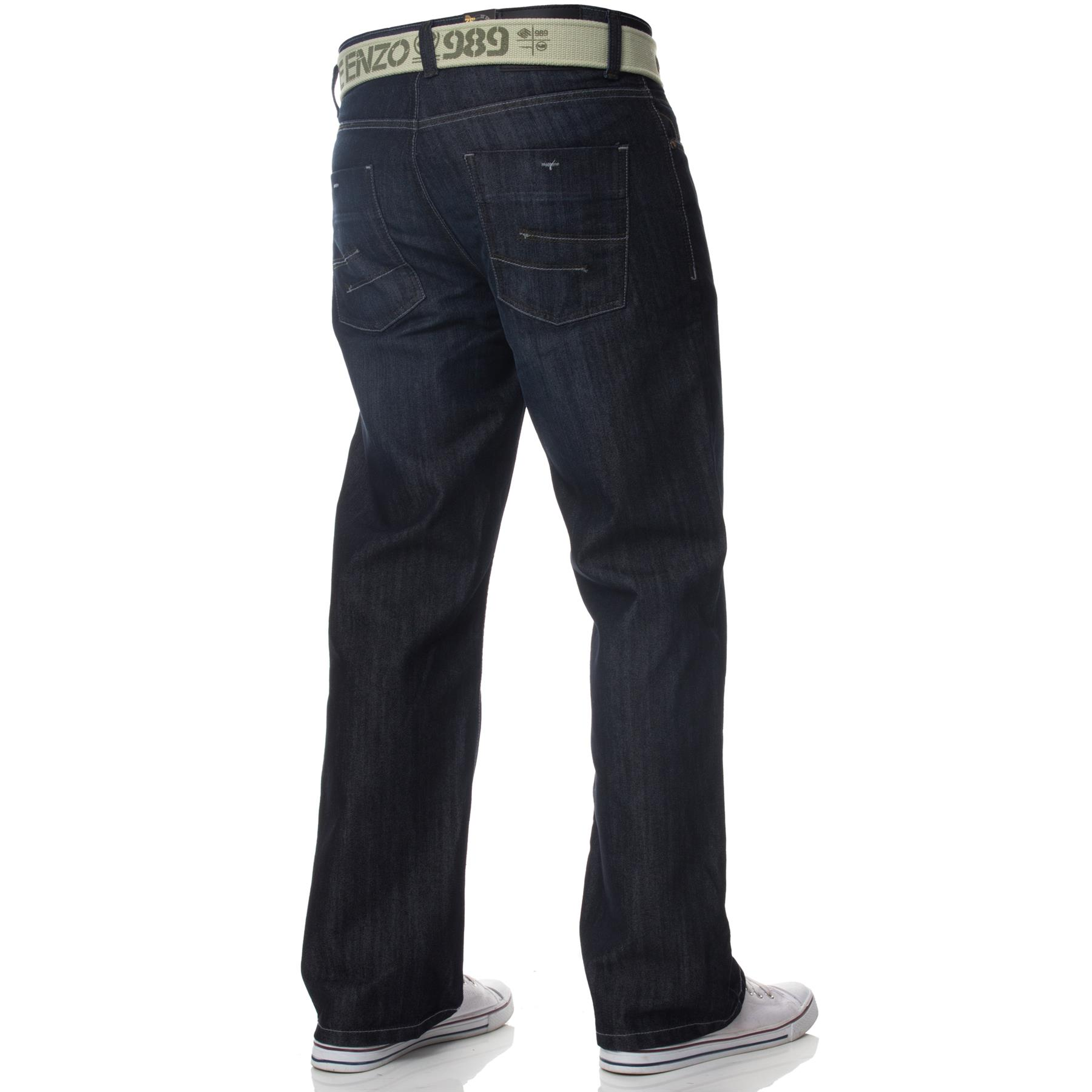 Enzo-Mens-Jeans-Big-Tall-Leg-King-Size-Denim-Pants-Chino-Trousers-Waist-44-034-60-034 miniature 7