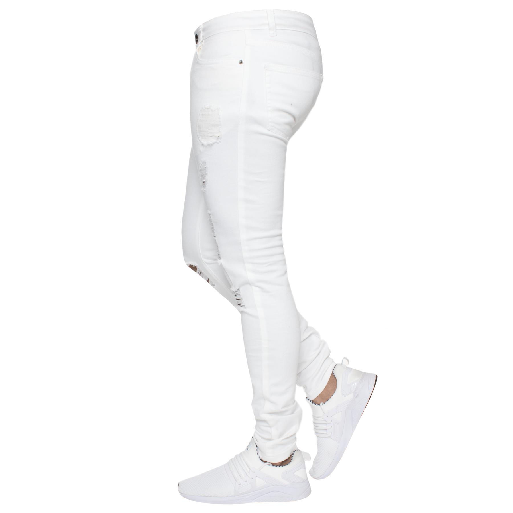 Para-hombre-Super-Skinny-Ripped-Jeans-Pantalones-Ajustados-desgastados-Denim-Envejecido-Todas miniatura 25