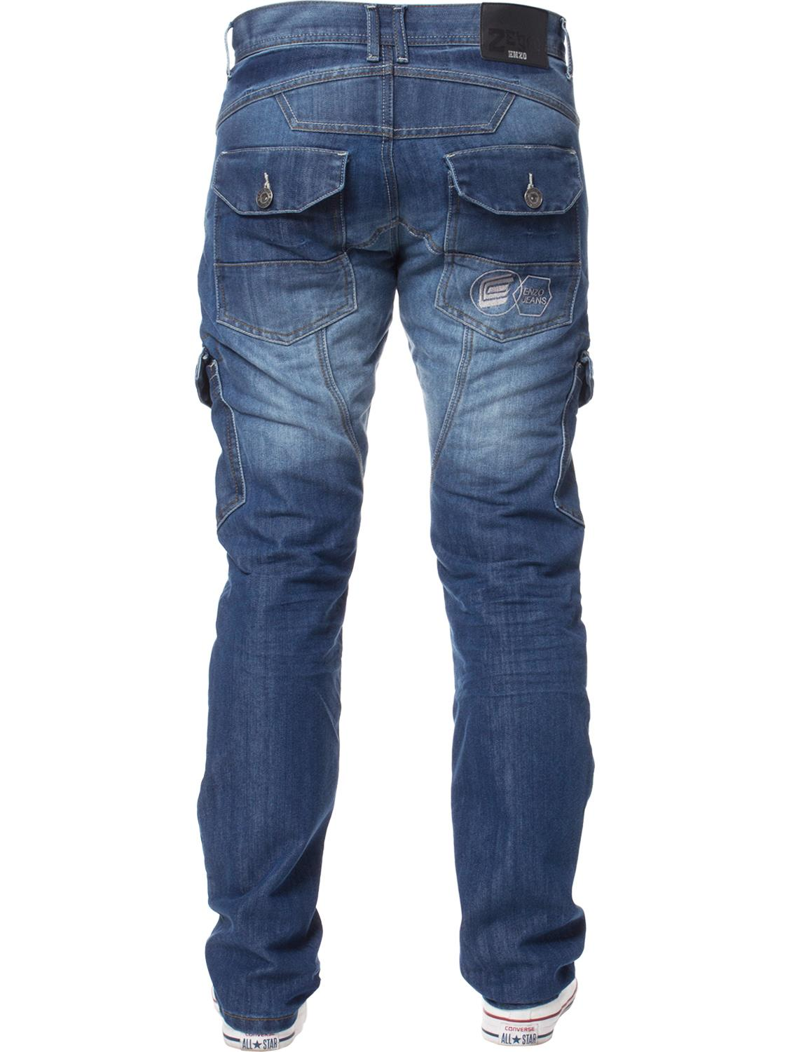Enzo-Mens-Jeans-Big-Tall-Leg-King-Size-Denim-Pants-Chino-Trousers-Waist-44-034-60-034 miniature 86