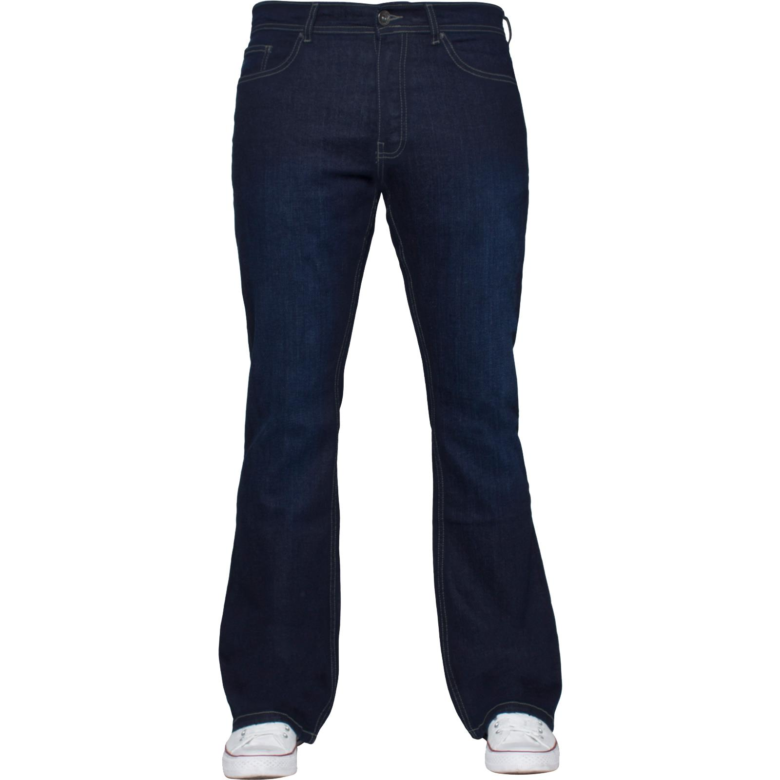 Enzo-Designer-Mens-Bootcut-Flared-Jeans-Stretch-Wide-Leg-Denim-Pants-All-Sizes thumbnail 18
