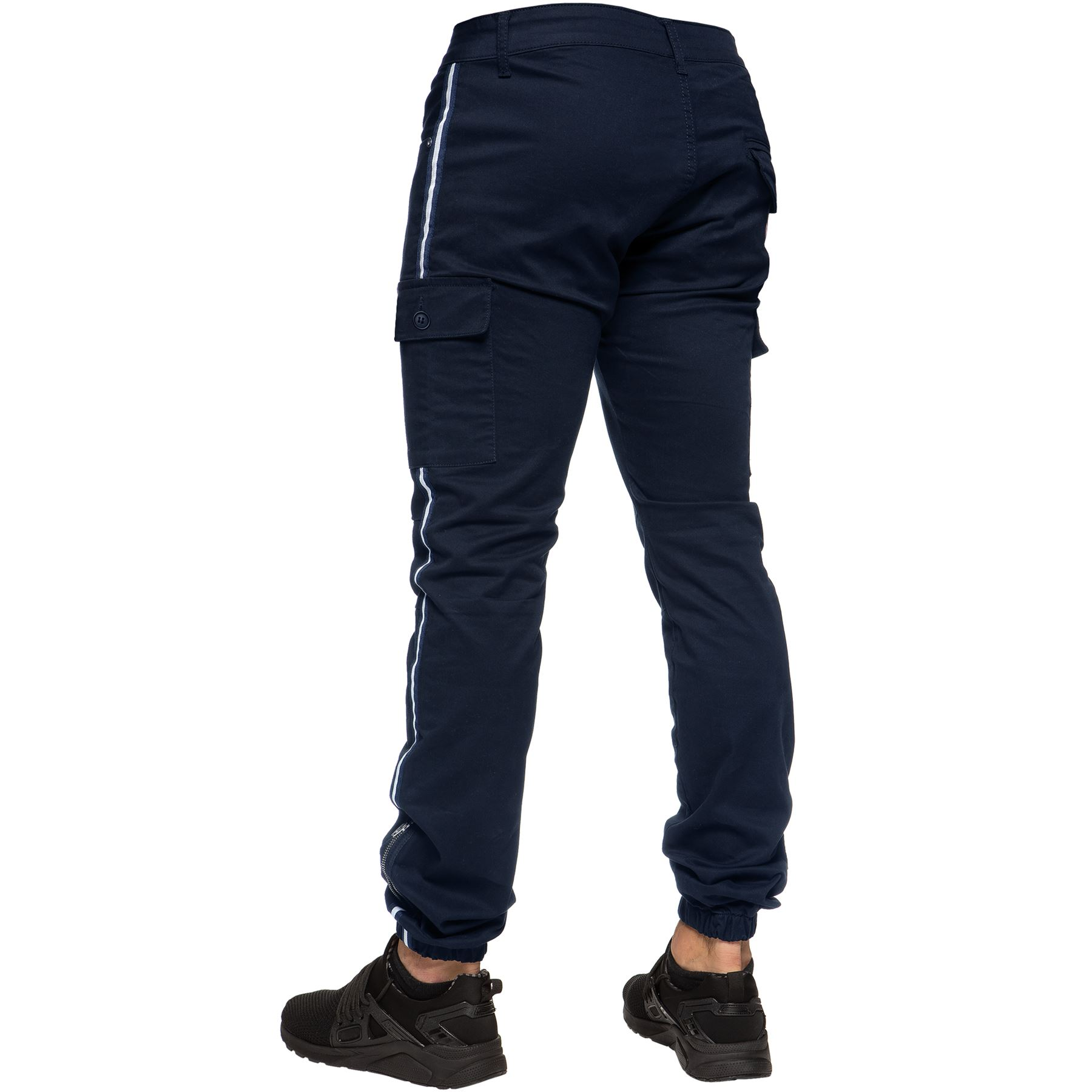 Enzo-Jeans-Mens-Combat-Trousers-Cargo-Chinos-Slim-Stretch-Cuffed-Joggers-Pants thumbnail 11