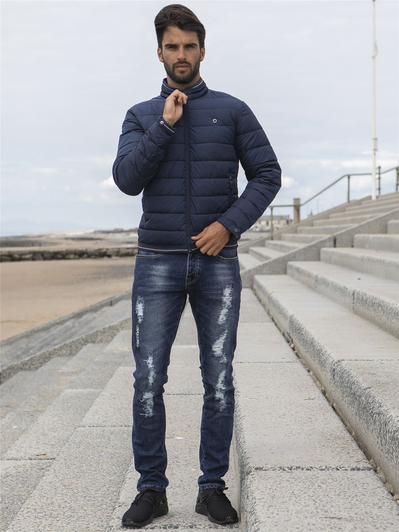 Mens-Quilted-Jacket-Zip-Up-Bubble-Coat-Plain-Padded-Puffer-Winter-Warm-Coats