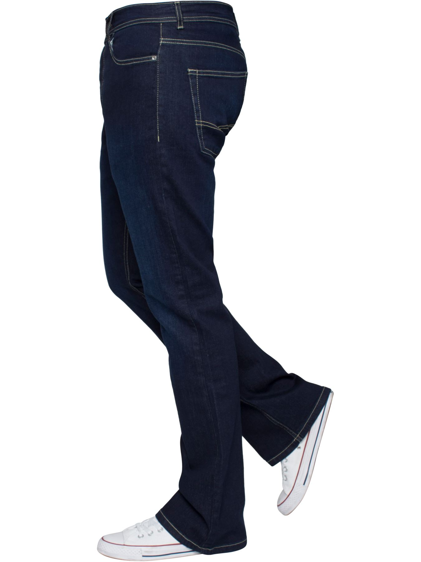 Kruze-Mens-Basic-Straight-Leg-Bootcut-Stretch-Jeans-Denim-Regular-Big-Tall-Waist thumbnail 59