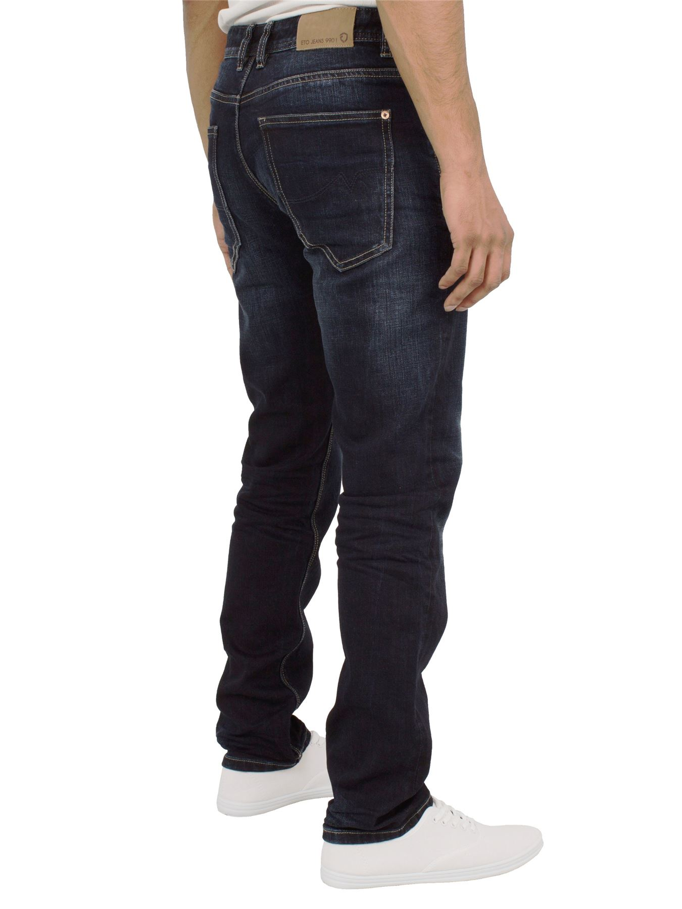 Eto-Designer-Mens-Tapered-Jeans-Slim-Fit-Stretch-Denim-Trouser-Pants-All-Waists thumbnail 17
