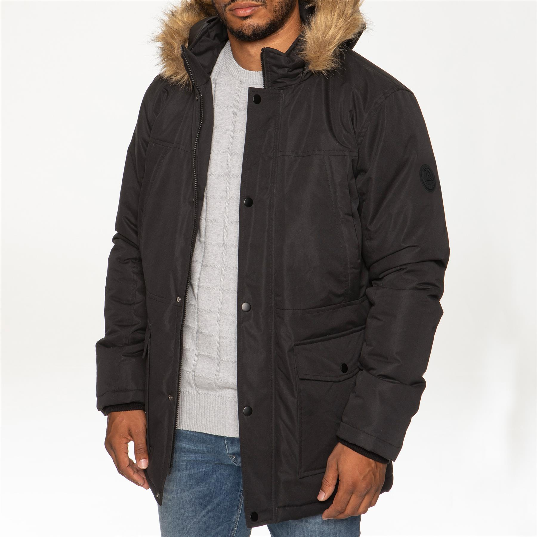 Mens-Parka-Jacket-Faux-Fur-Trimmed-Hooded-Winter-Warm-Long-Padded-Outerwear-Coat thumbnail 3