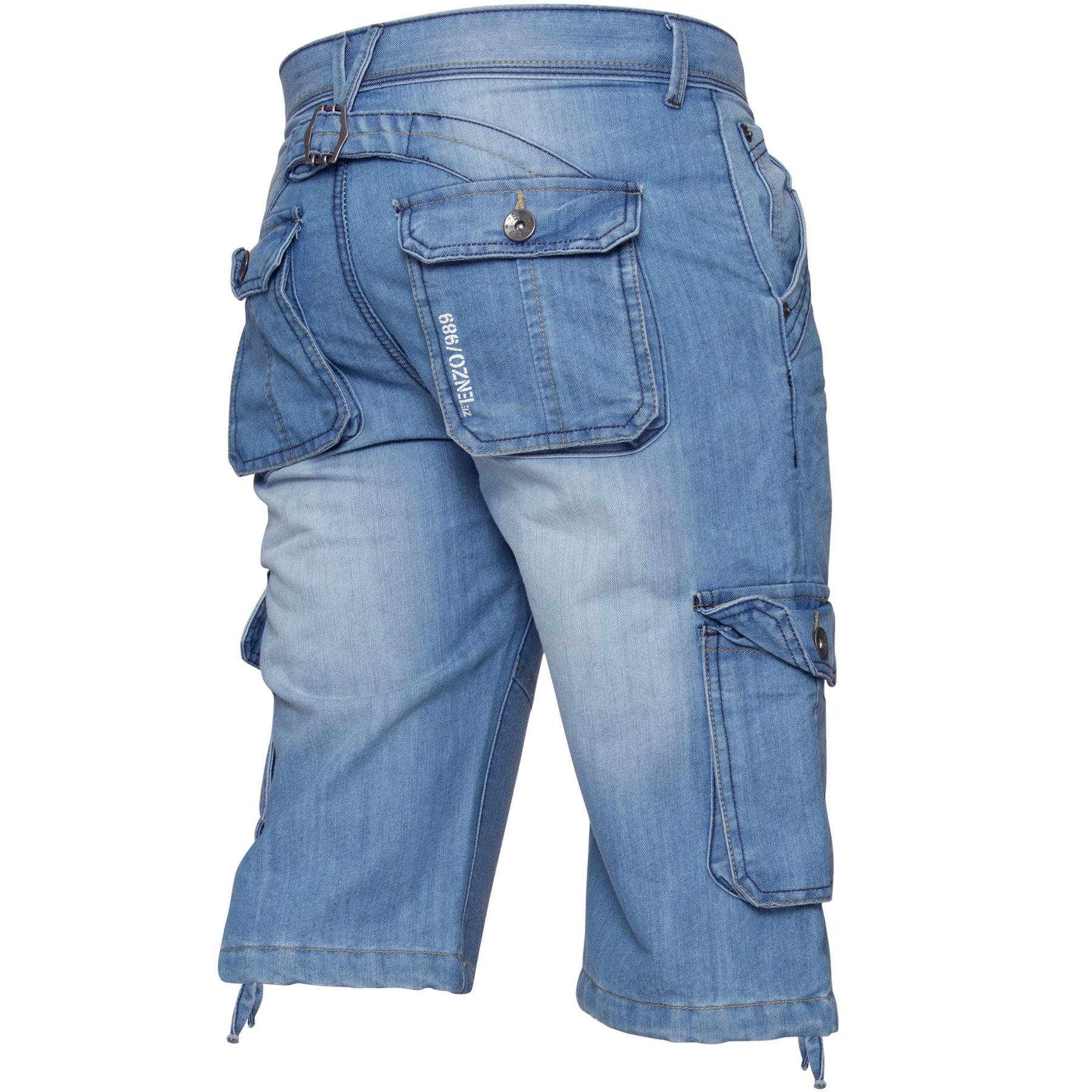 ENZO-Jeans-para-hombre-de-carga-combate-informal-de-verano-Shorts-Pantalones-Cortos-de-Jeans-Todas miniatura 9