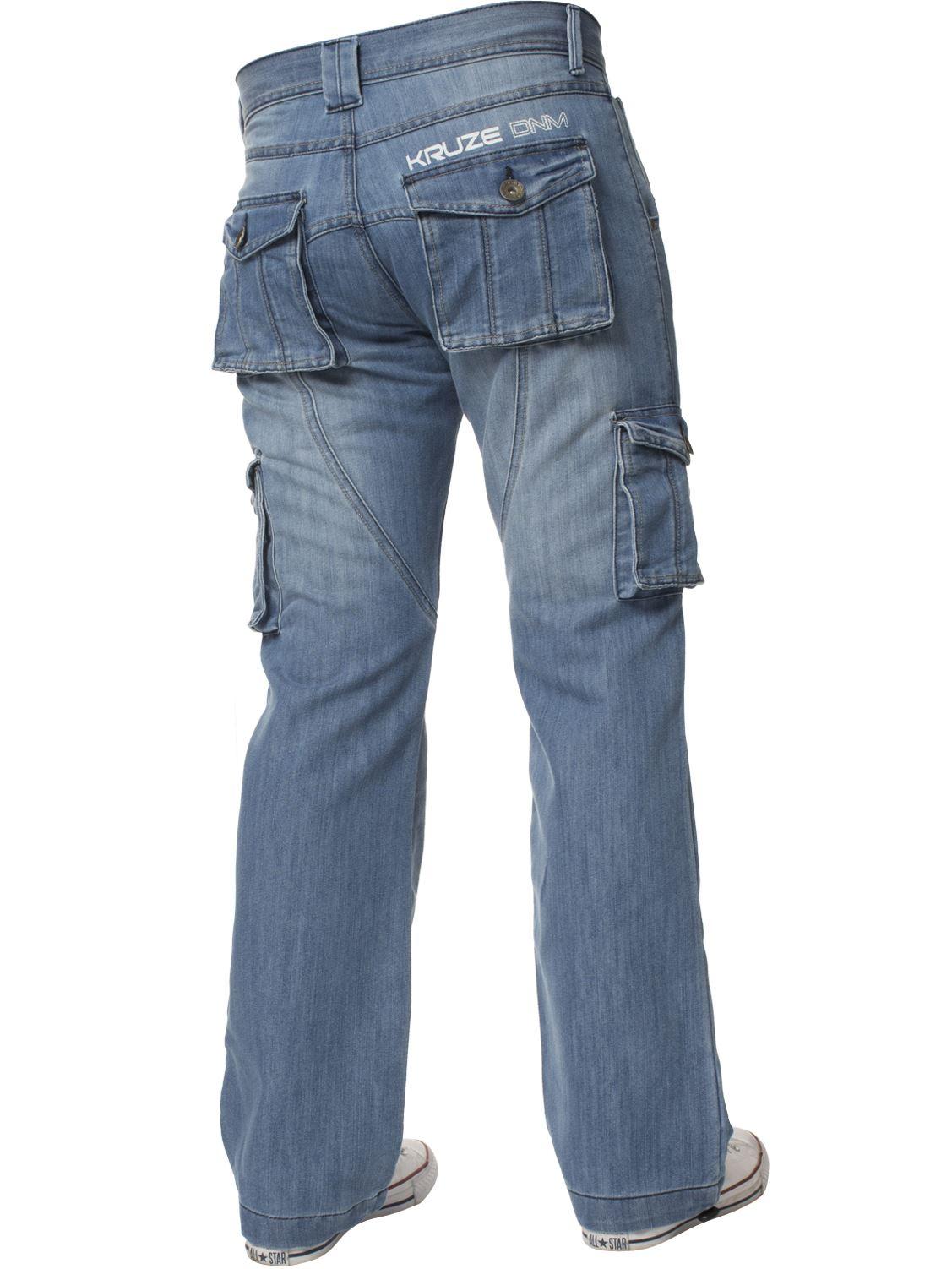 Mens-Jeans-Combate-Carga-Informal-Kruze-Trabajo-Pantalones-Cintura-Tallas-Denim-Pantalones-de-vestir miniatura 7