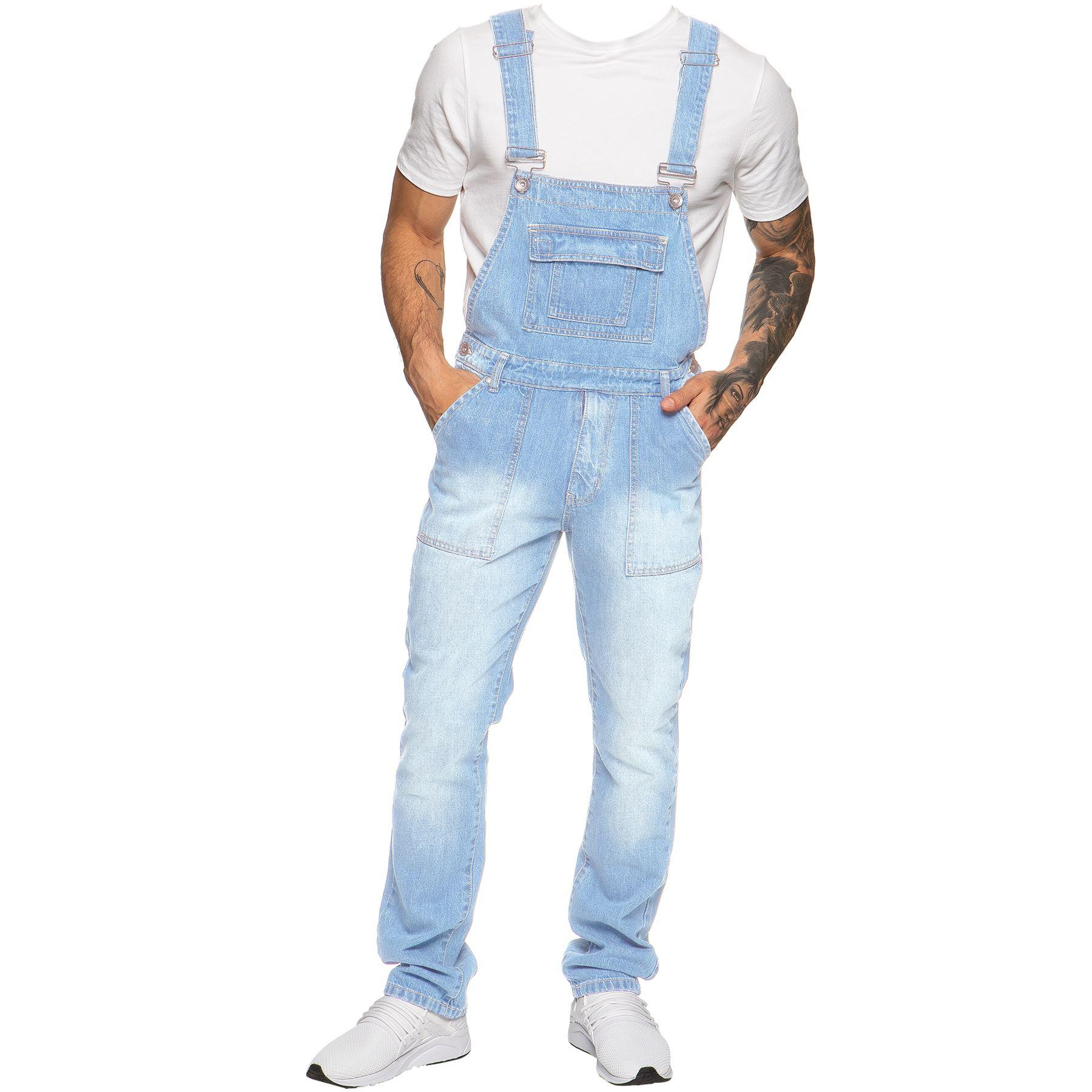ENZO-Jeans-Hombre-Denim-Azul-Peto-Peto-overoles-Todas-Cinturas-Talla-30-034-50-034 miniatura 10